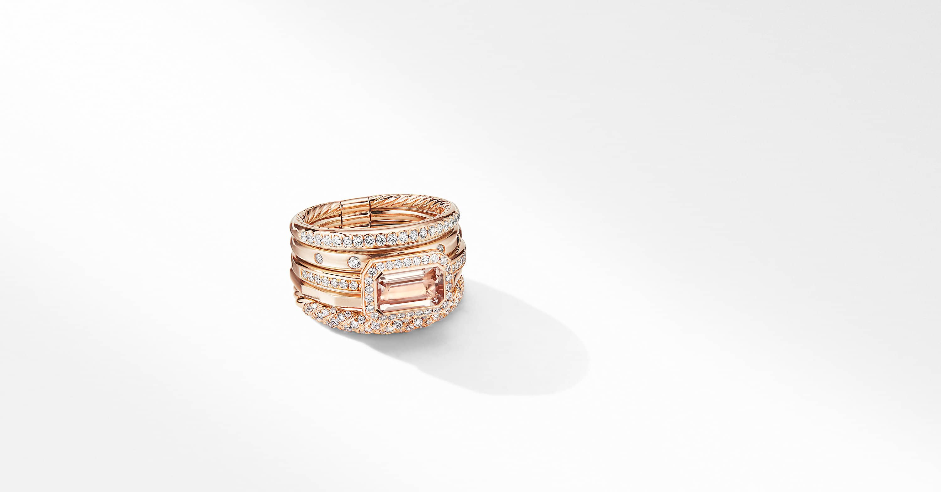 Stax Statement Ring in 18K Rose Gold with Diamonds