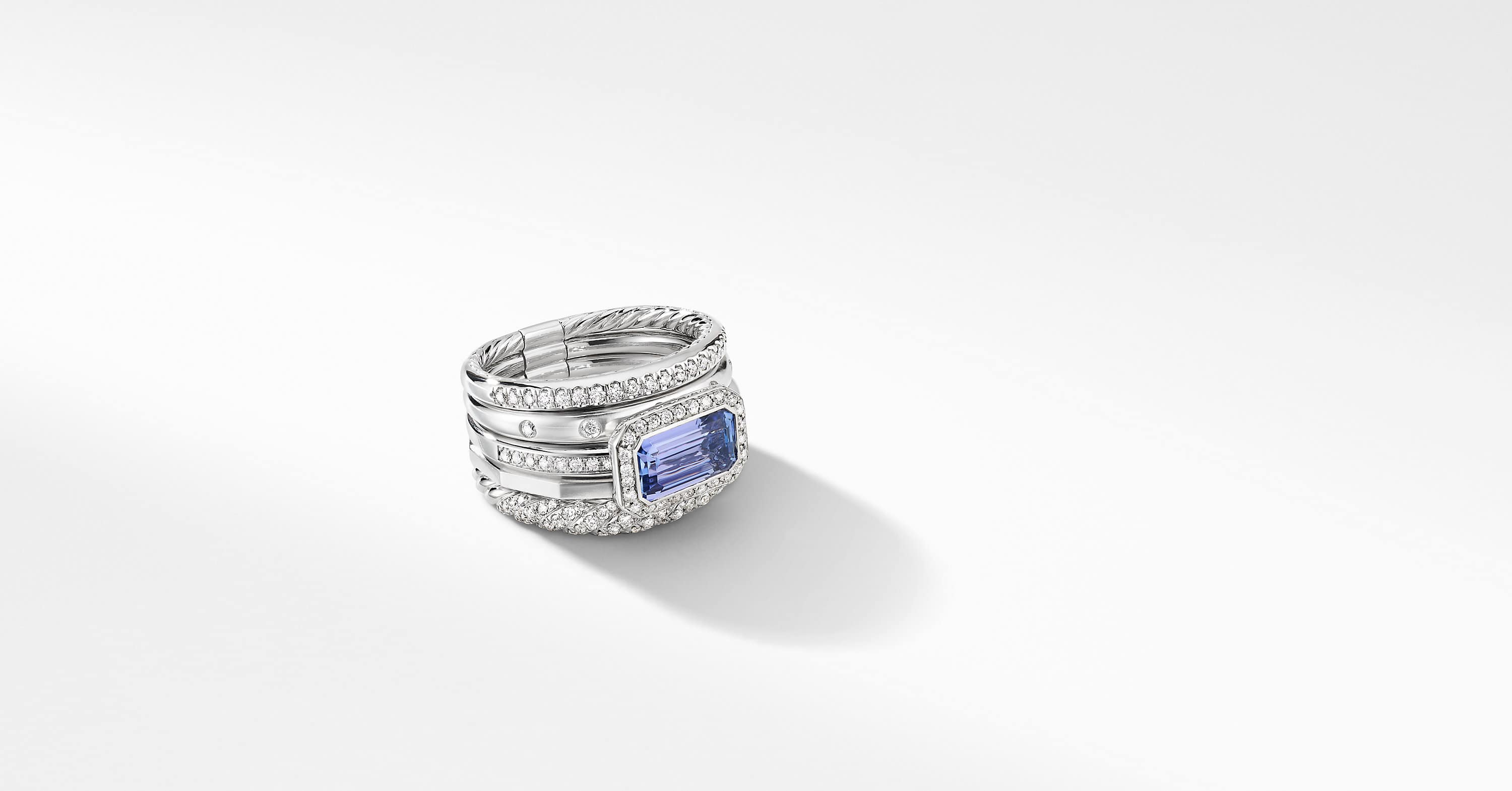 Stax Statement Ring in 18K White Gold with Diamonds