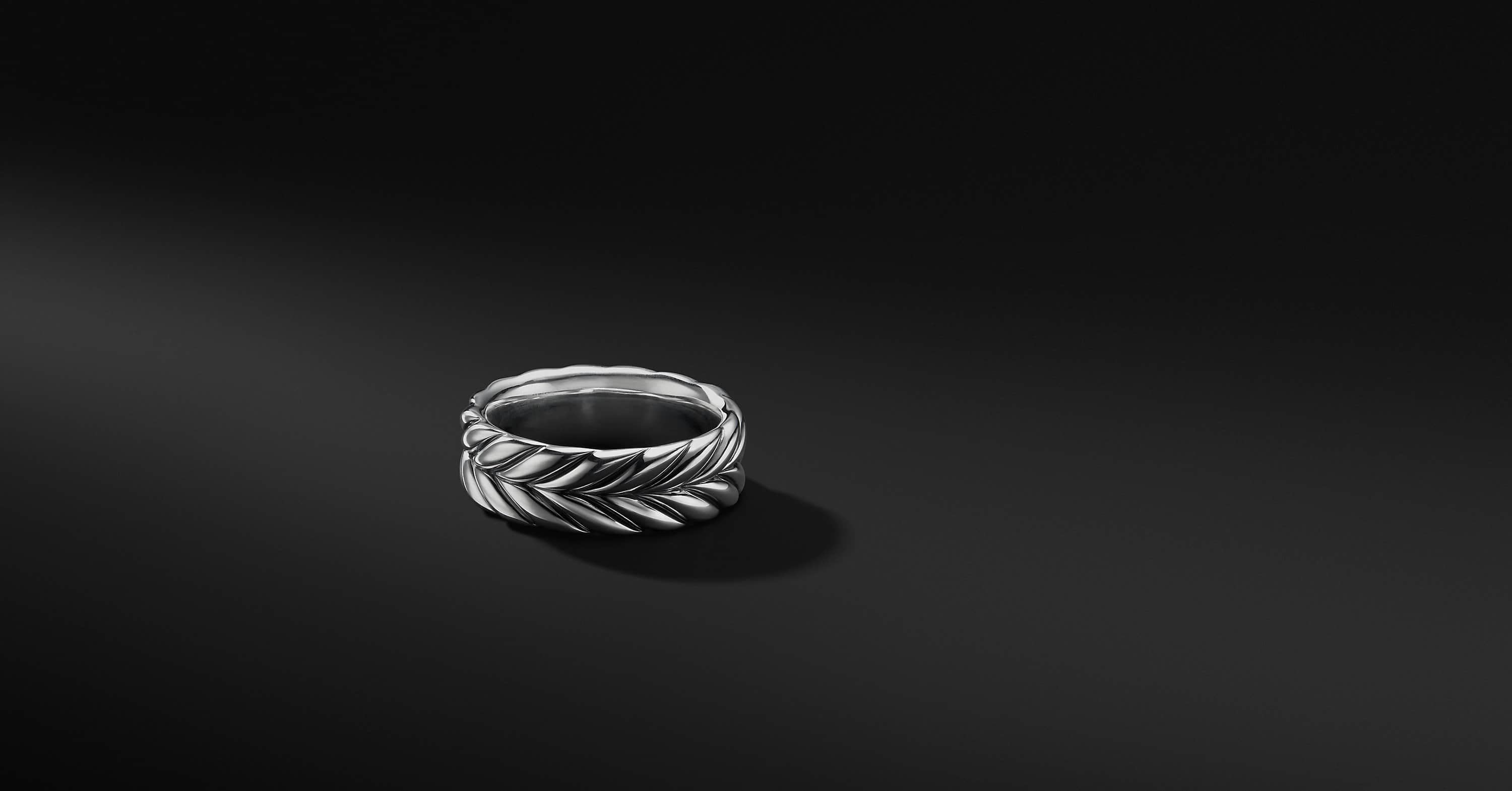 Chevron Band in Sterling Silver, 8.5mm