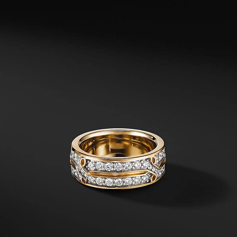 Armory Twisted Band Ring in 18K Yellow Gold, 8mm