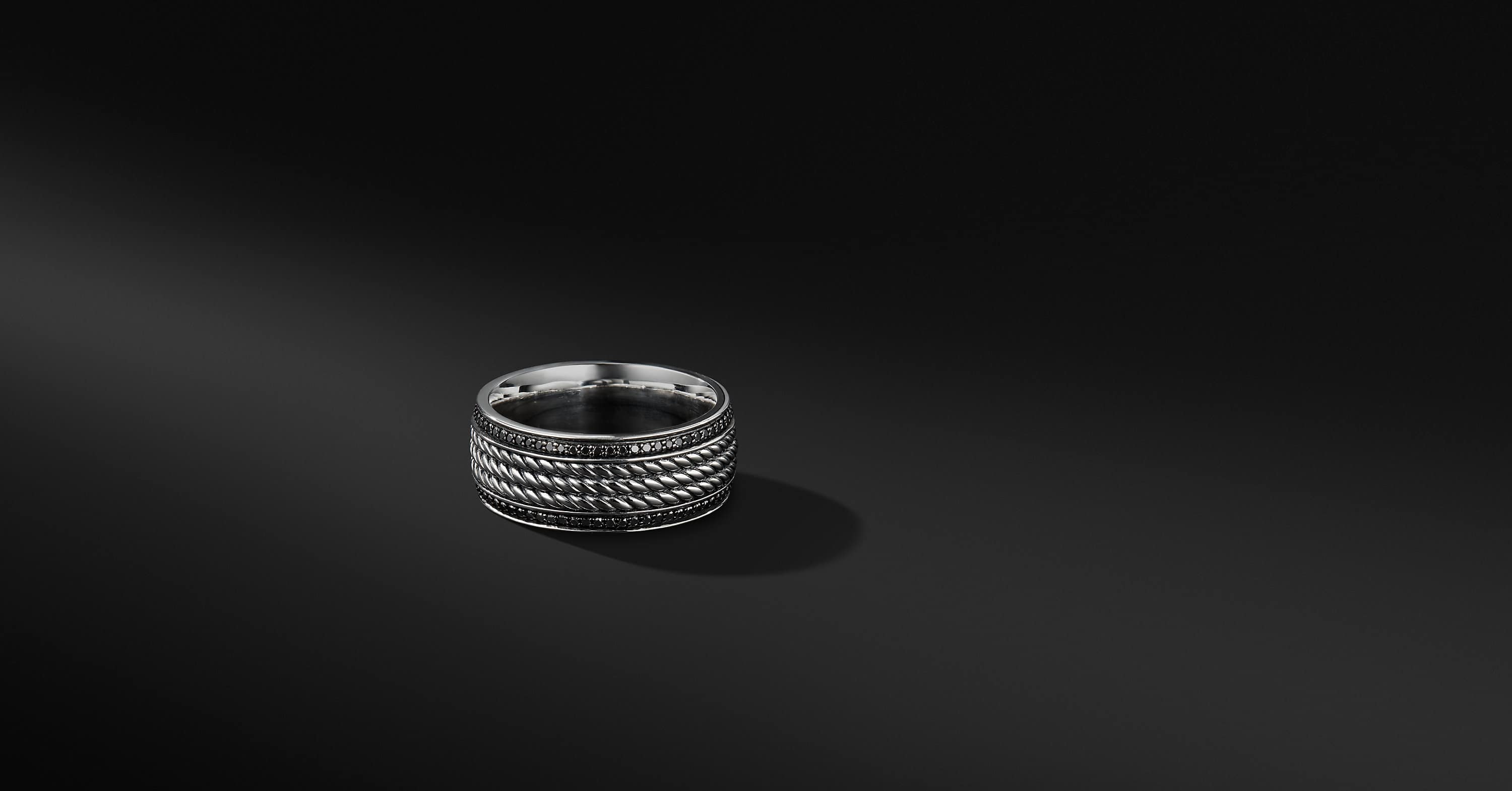 Maritime Rope Band in Sterling Silver with Black Diamonds, 9mm