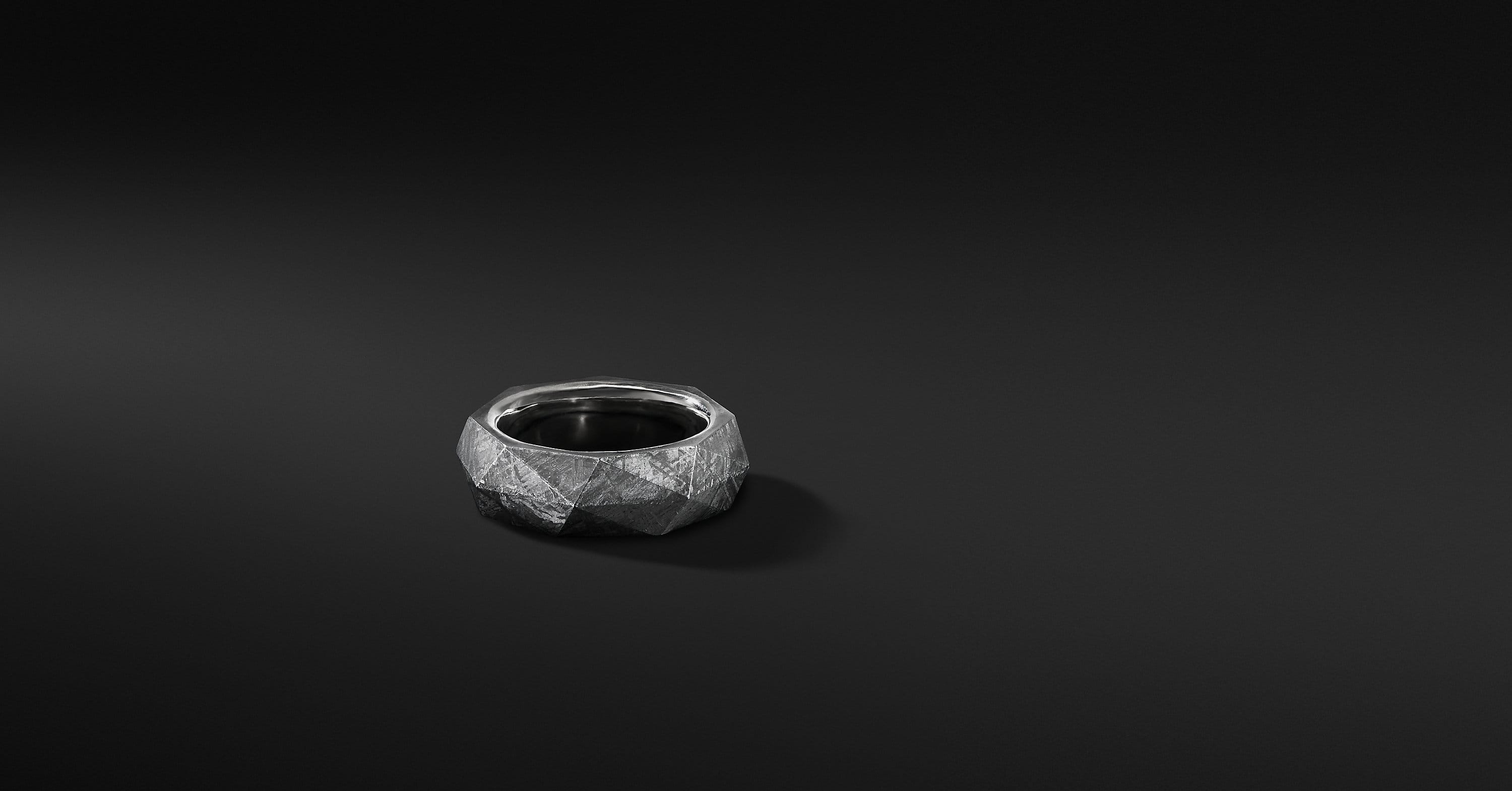 Meteorite Faceted Band, 8.5mm