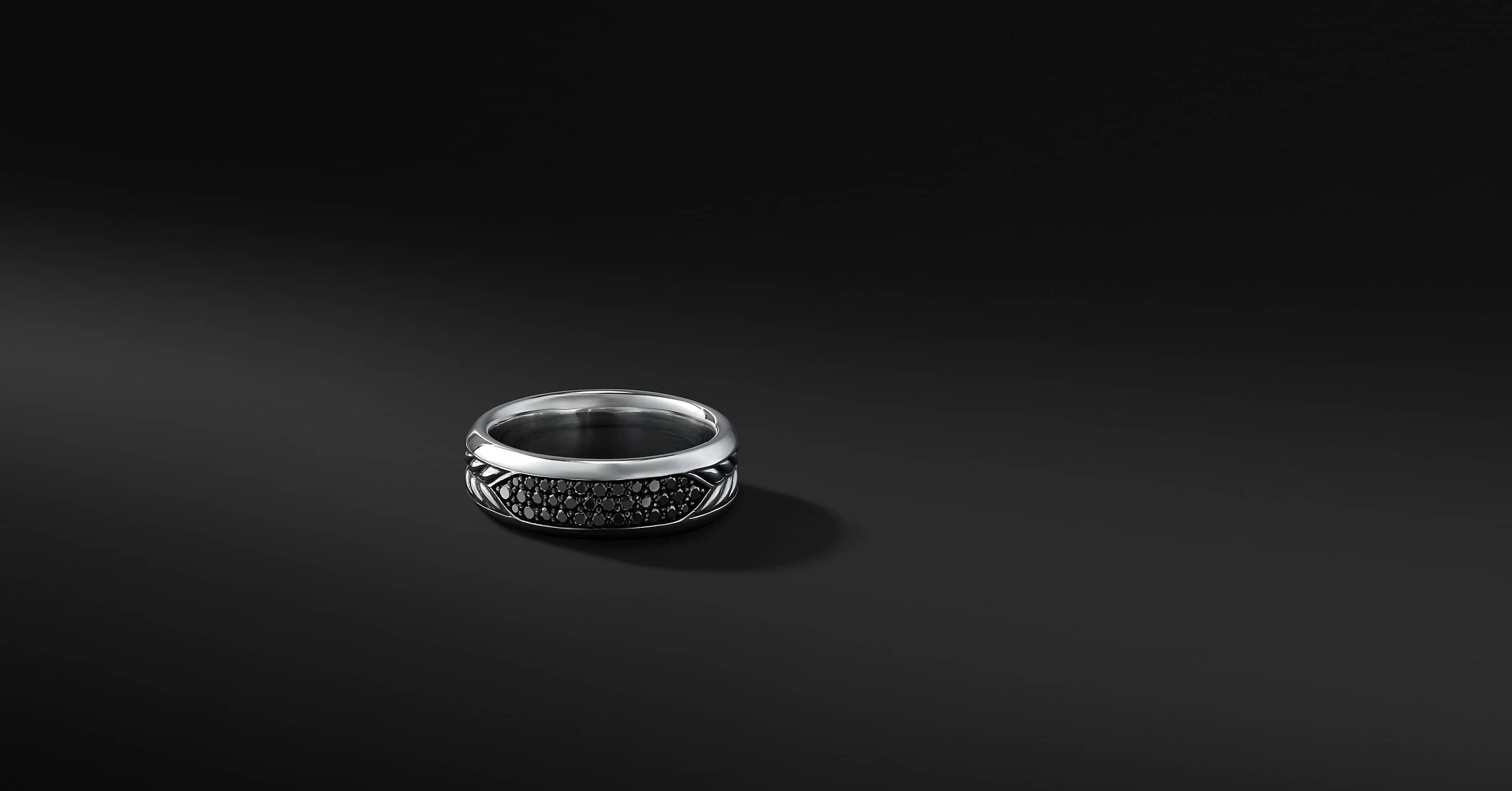Chevron Band in Sterling Silver with Black Diamonds, 8mm