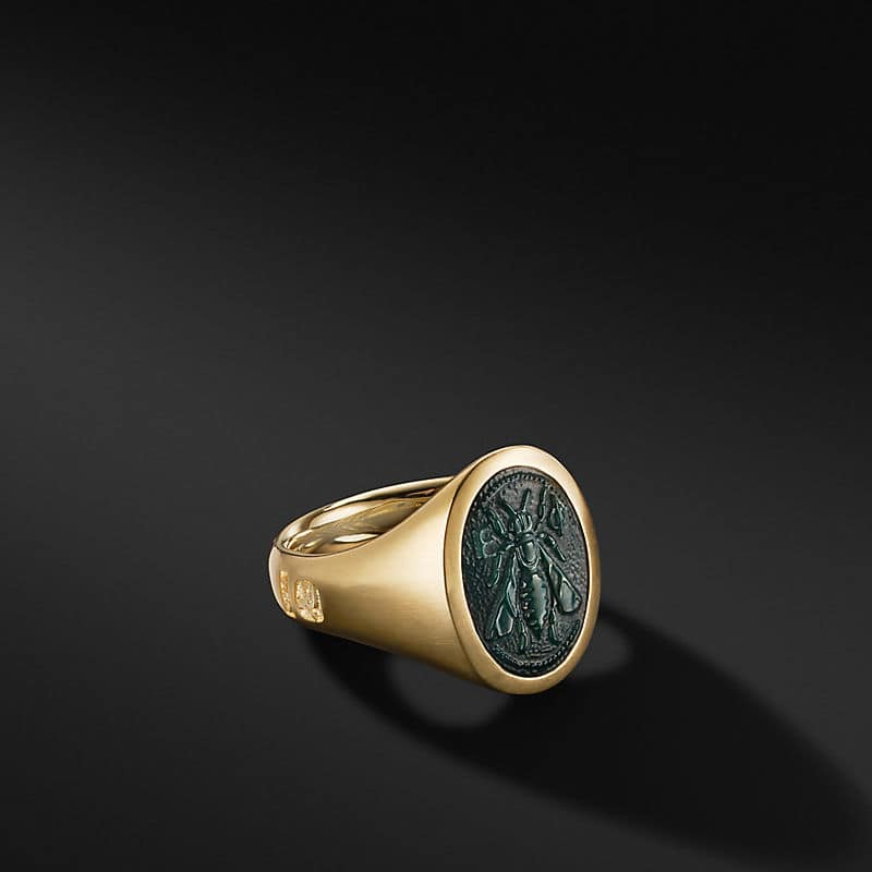 Petrvs Bee Signet Ring in 18K Yellow Gold