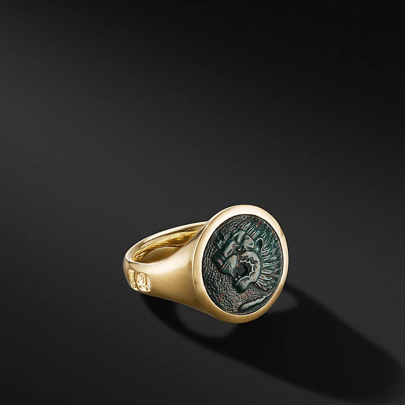 Petrvs Lion Signet Ring in 18K Yellow Gold