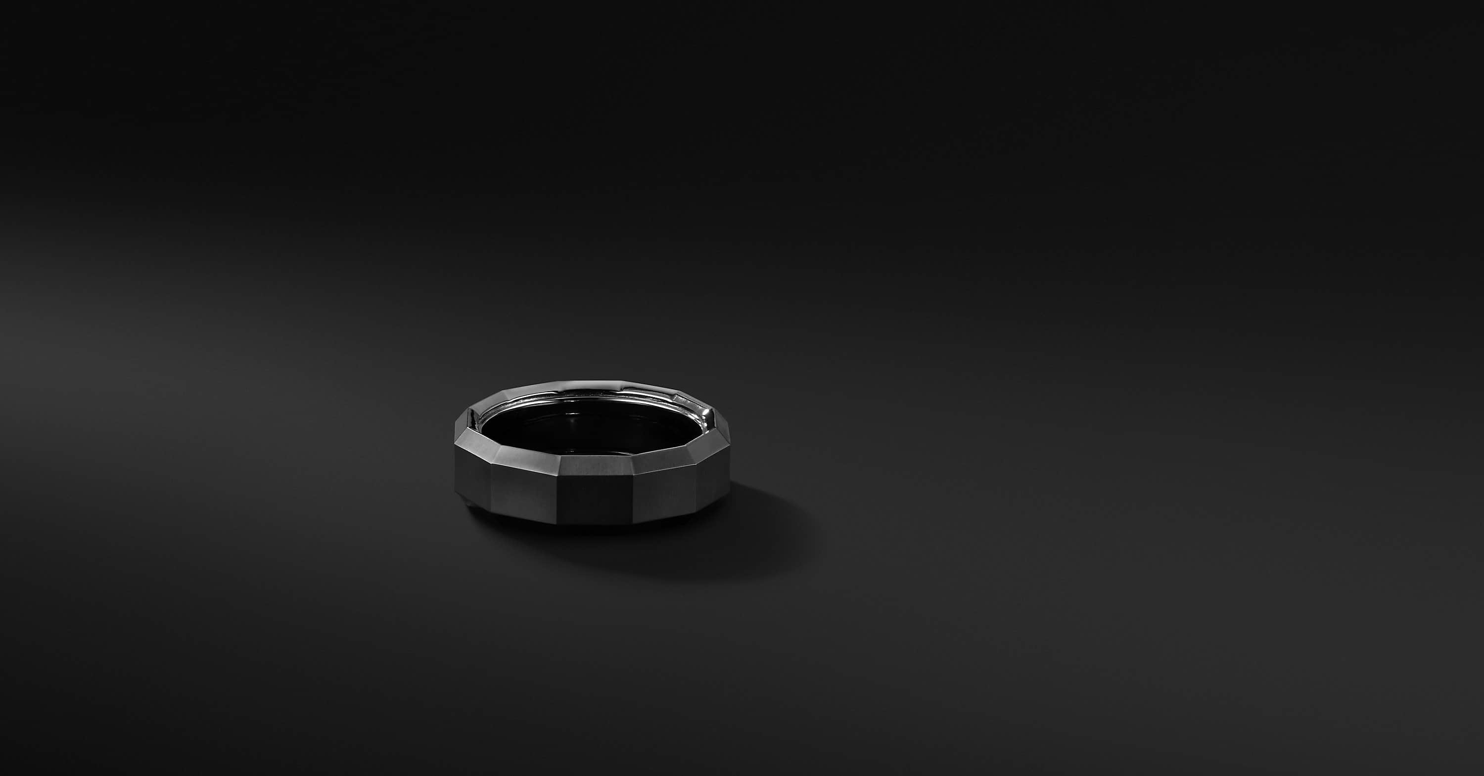 Faceted Band in Black Titanium, 7.5mm