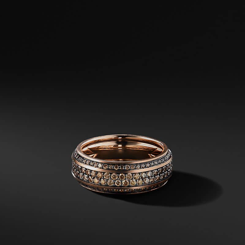 Beveled Band in 18K Rose Gold with Pavé