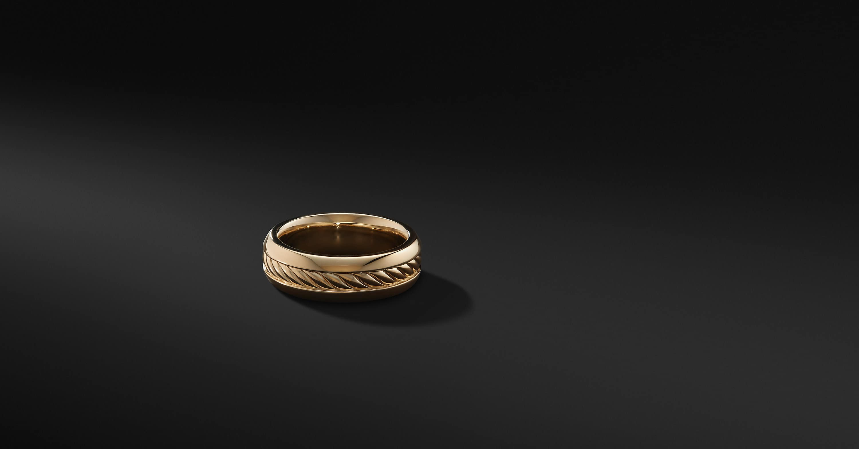 Cable Inset Band in 18K Gold, 8mm