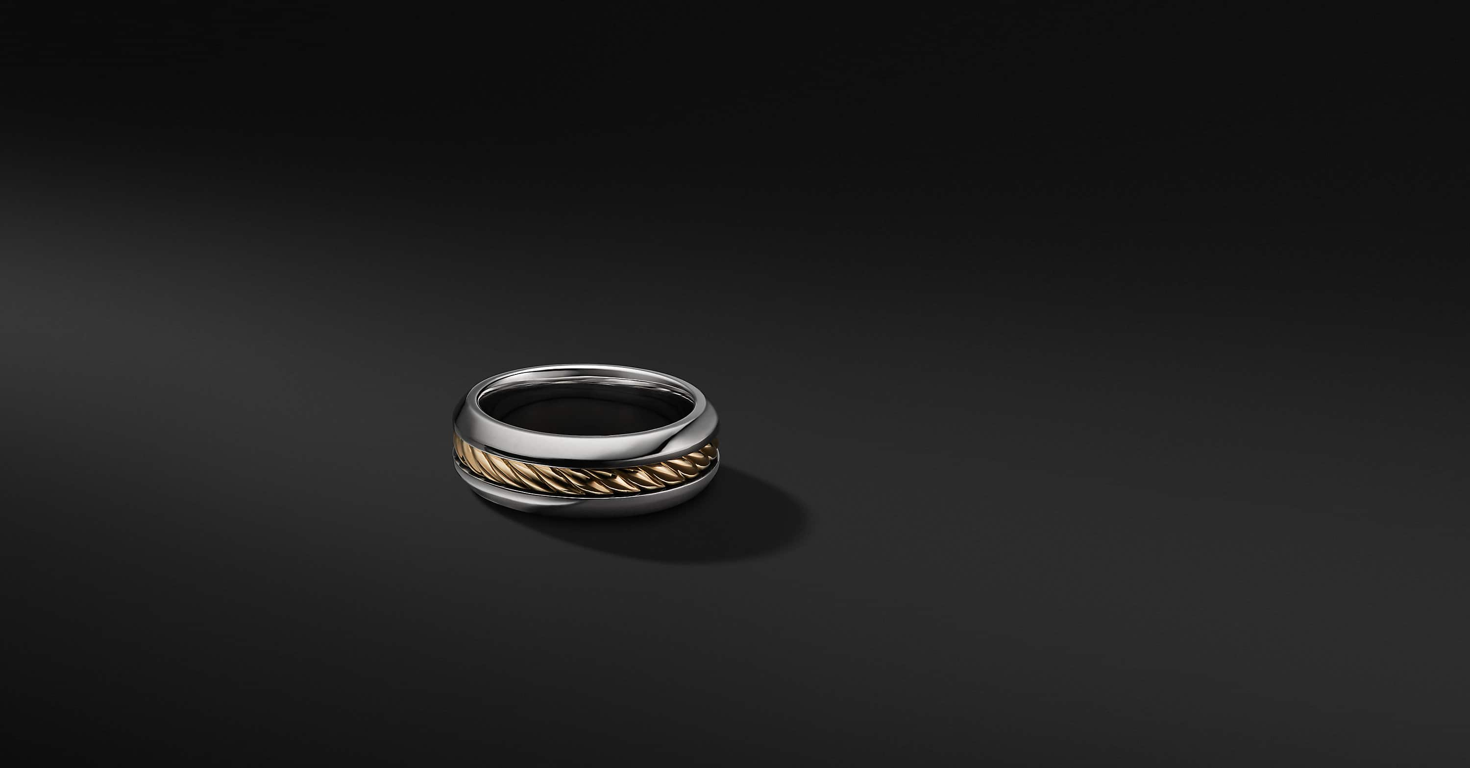 Cable Inset Band in Sterling Silver and 18K Gold, 8mm