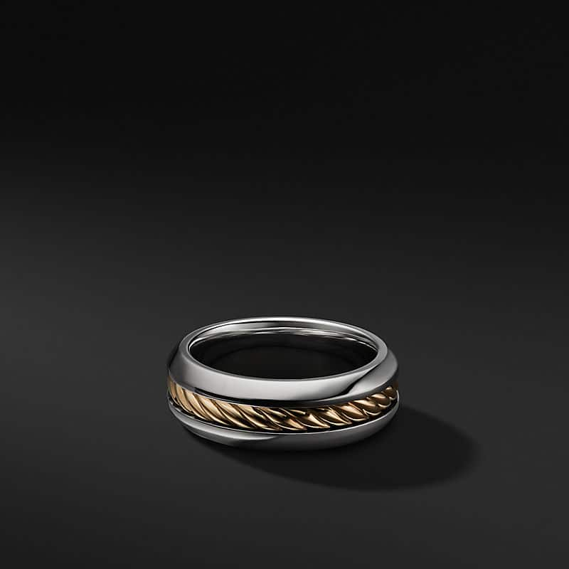 Cable Inset Band in Sterling Silver and 18K