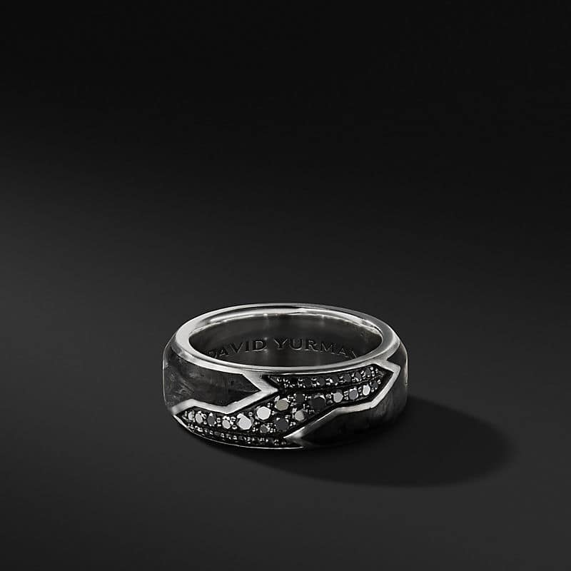 Forged Carbon Band with Black Diamonds, 9mm