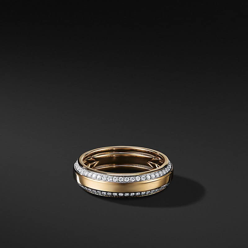 Beveled Band in 18K Yellow Gold with Pavé, 6mm