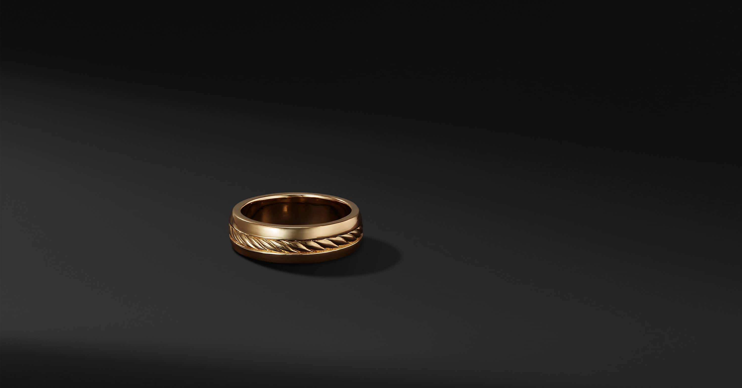 Cable Inset Band in 18K Gold, 6mm