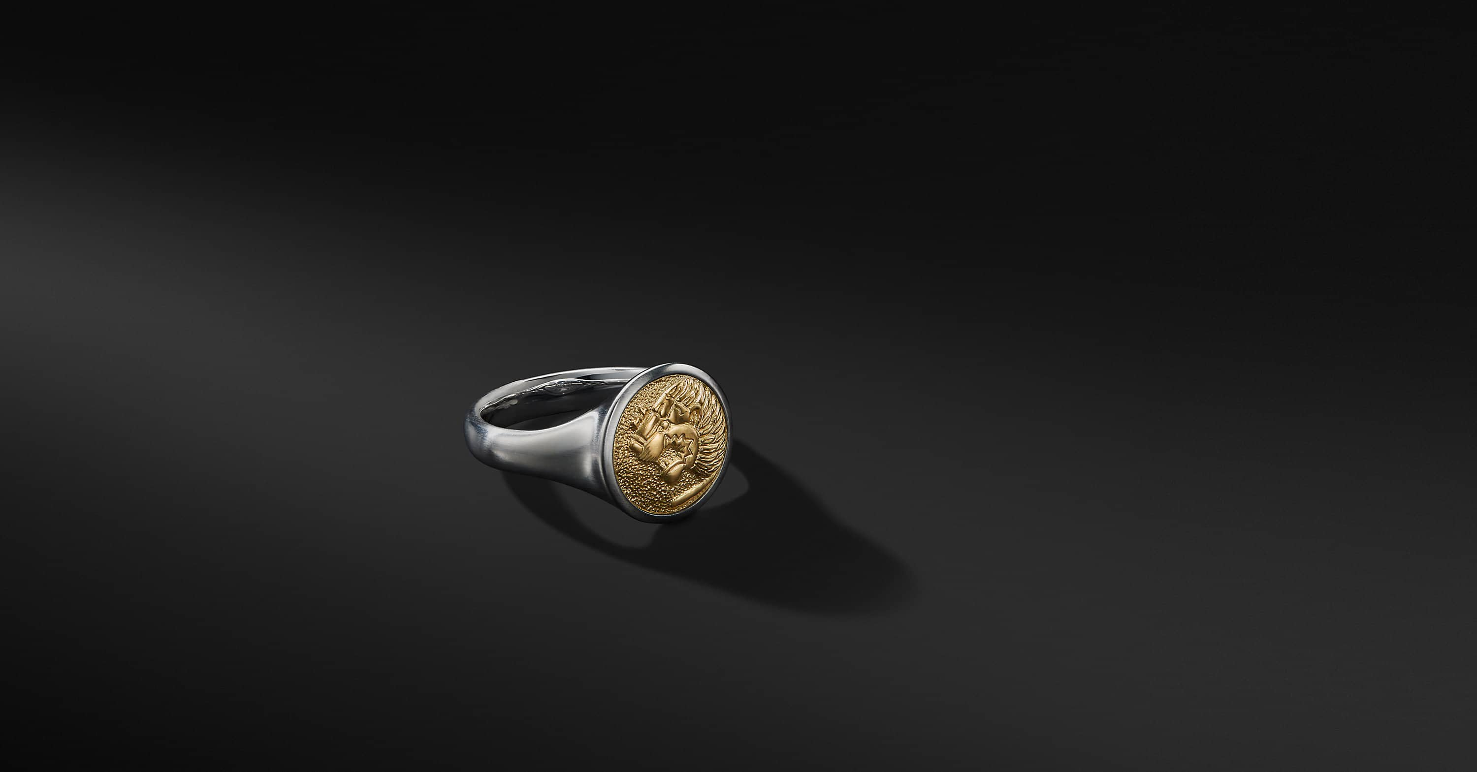 Petrvs Lion Signet Pinky Ring with 18K Gold