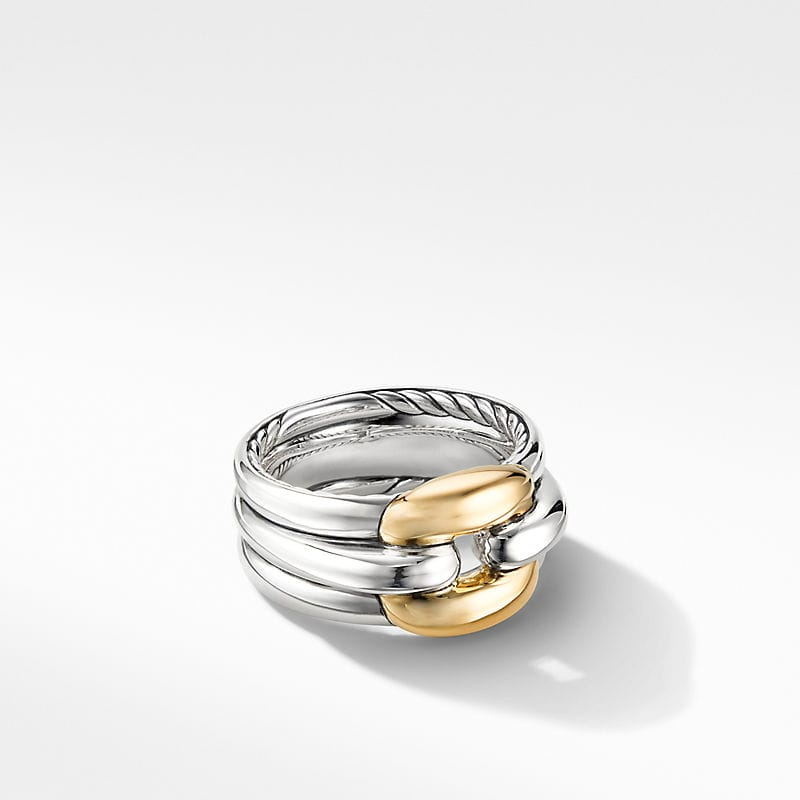 Thoroughbred Cushion Link Ring with 18K Yellow Gold