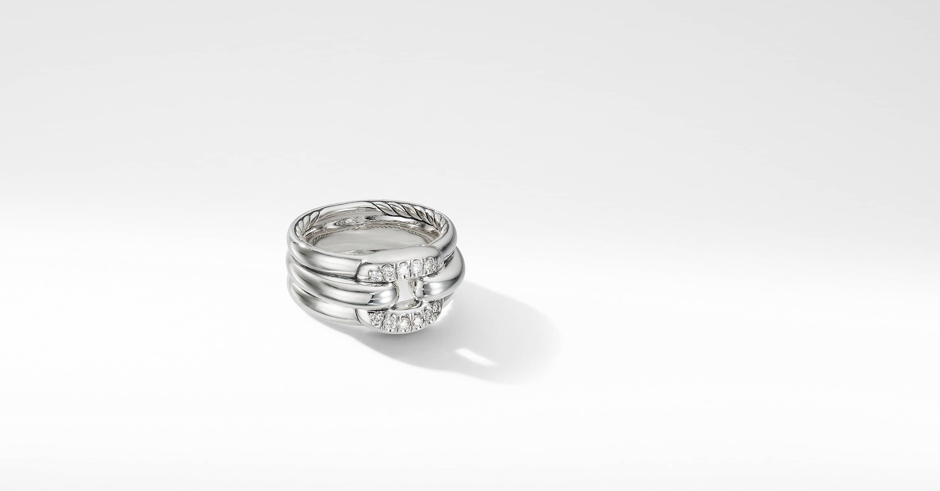 Thoroughbred Cushion Link Ring with Diamonds