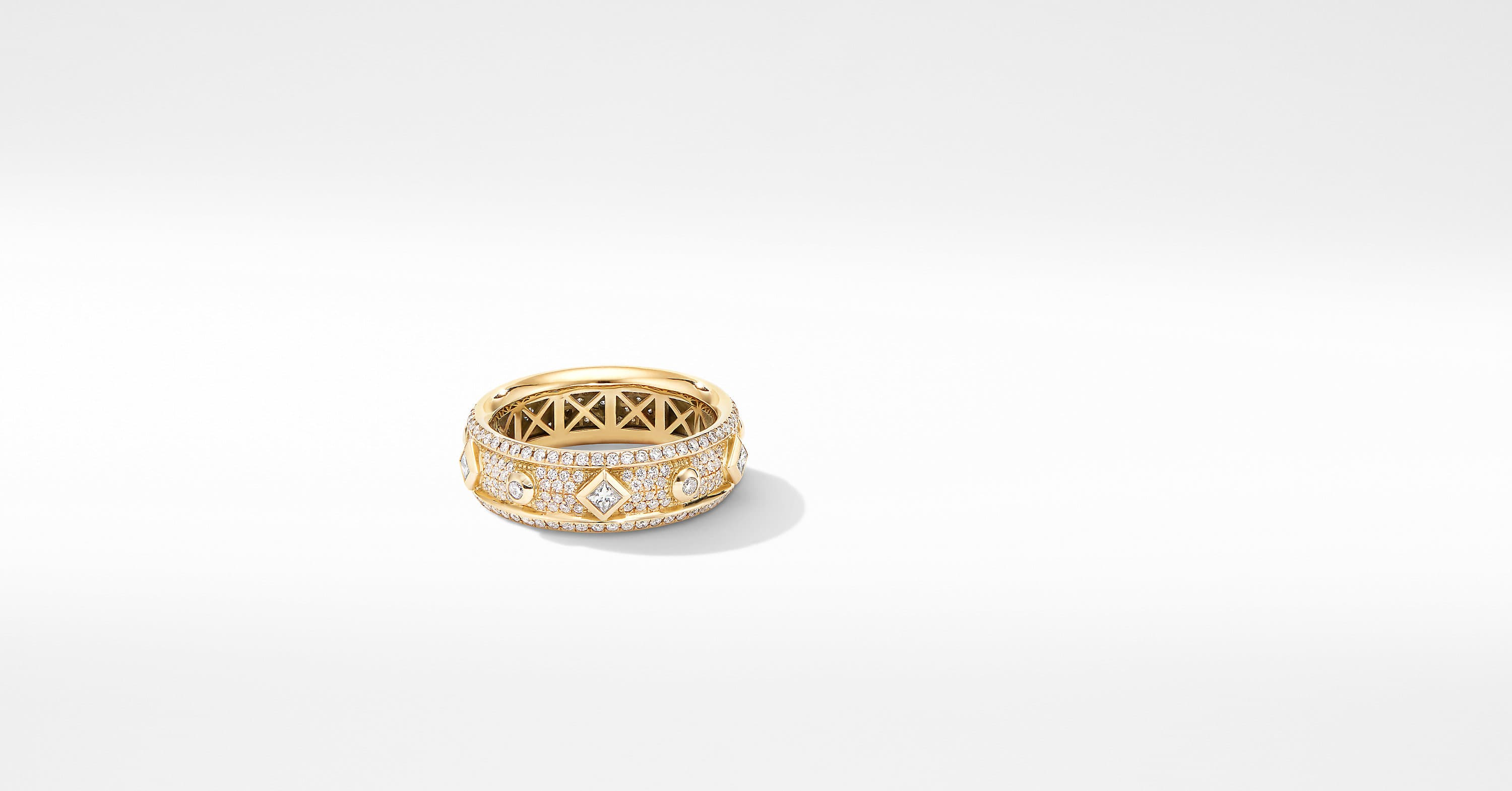 Modern Renaissance Narrow Ring in 18K Yellow Gold with Diamonds