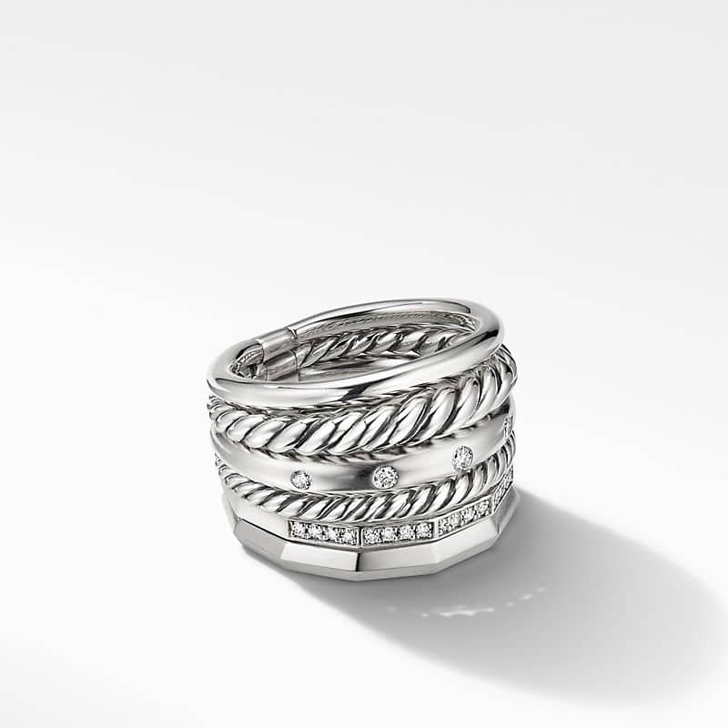 Stax Wide Ring with Diamonds, 16mm
