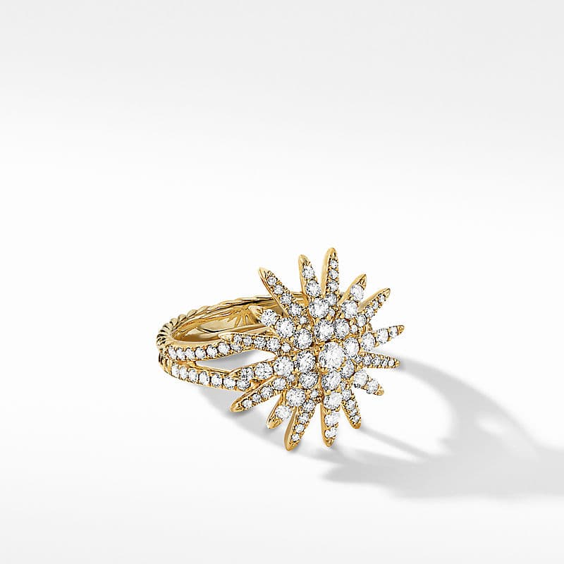 Starburst Ring in 18K Yellow Gold with Full Pavé, 20mm