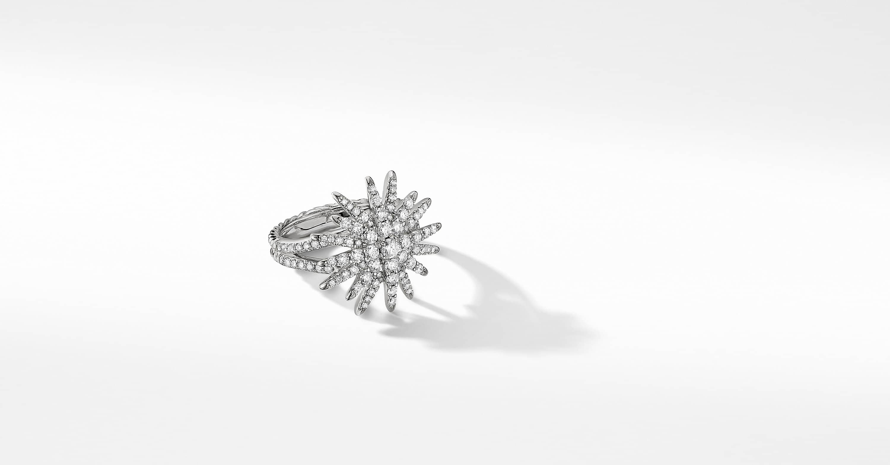 Starburst Ring in 18K White Gold with Full Pavé, 20mm