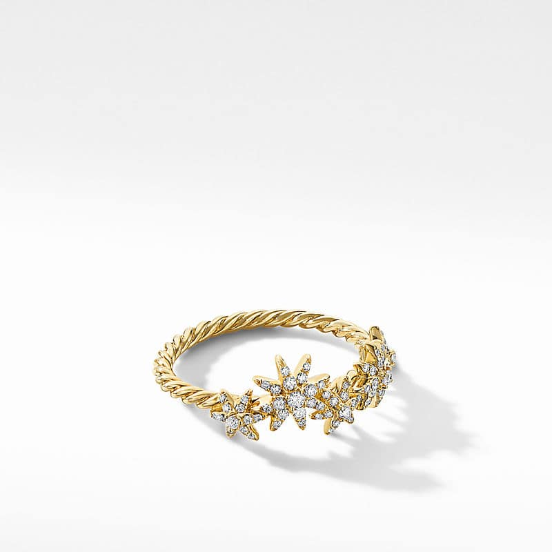 Starburst Cluster Band Ring in 18K Yellow Gold with Diamonds