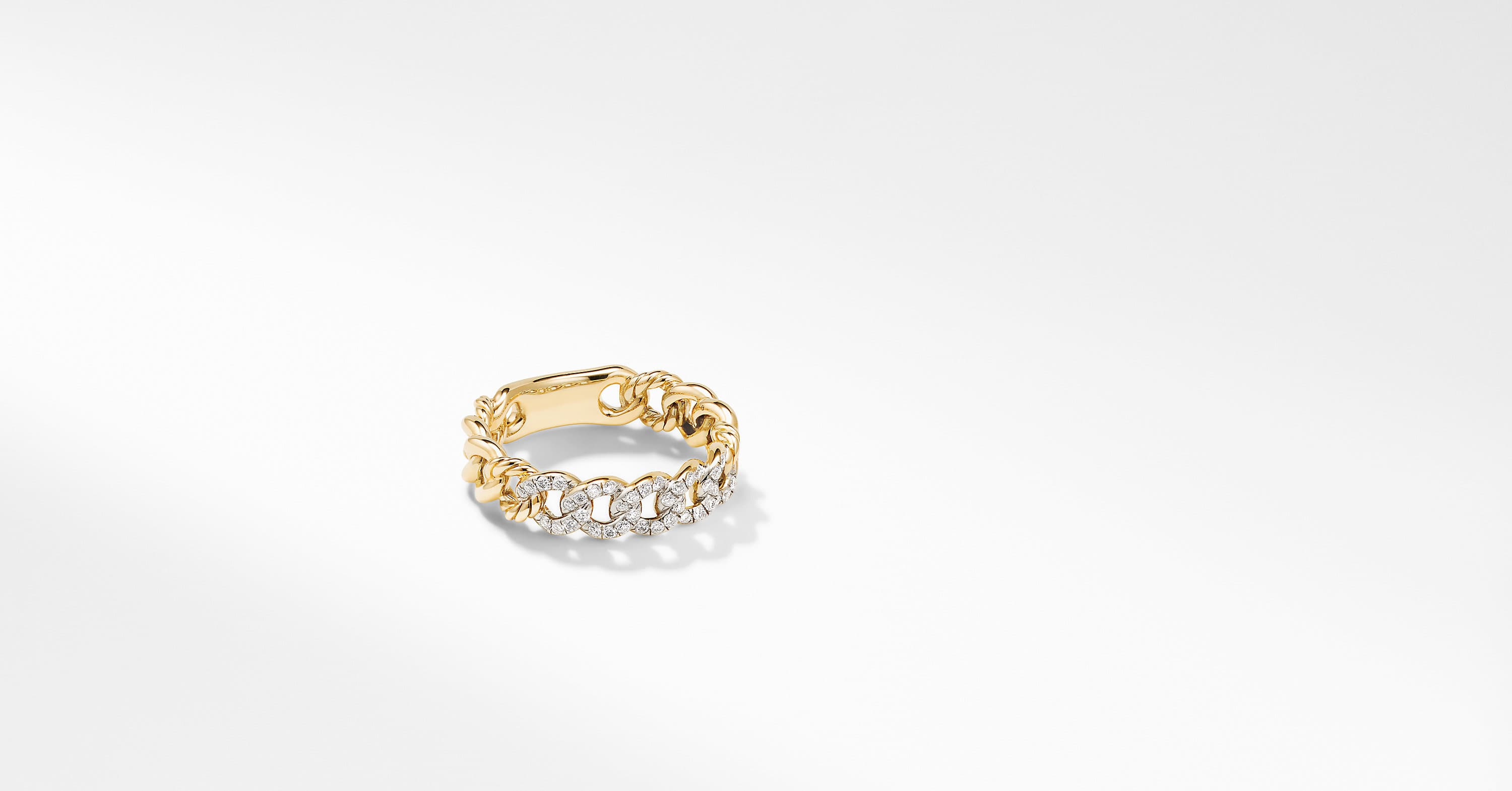 Belmont Curb Link Narrow Ring in 18K Yellow Gold with Pavé