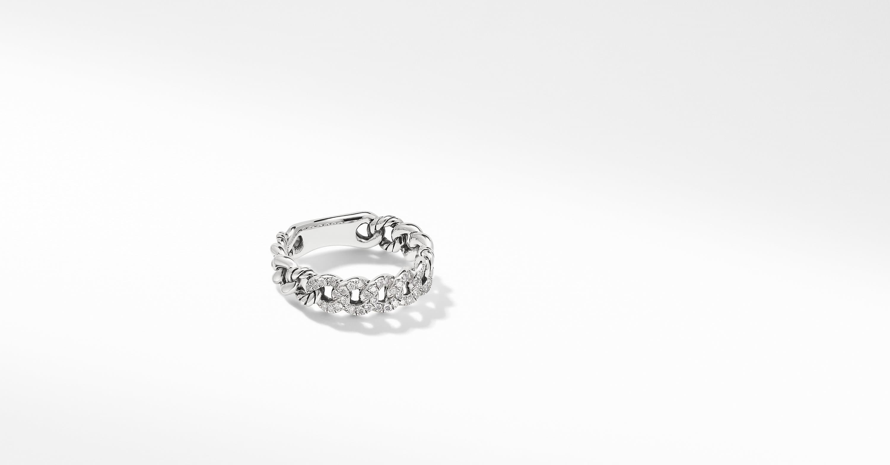 Belmont Curb Link Narrow Ring with Pavé