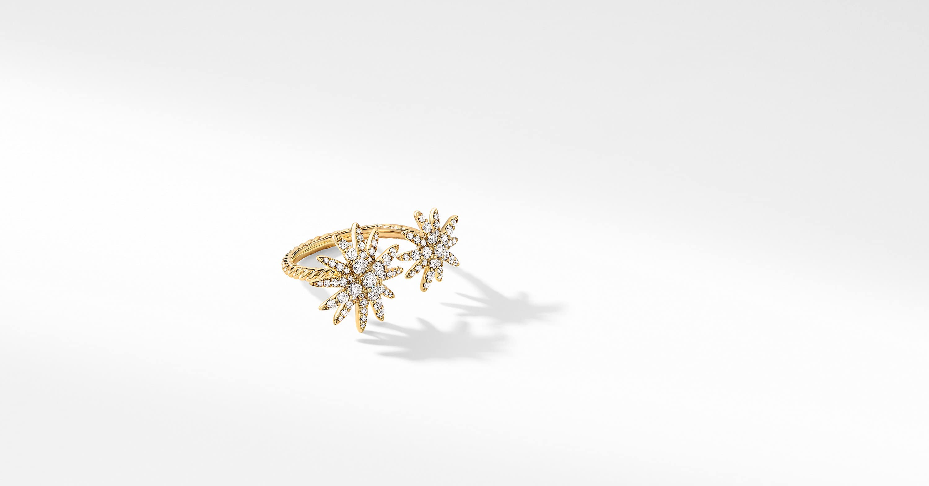 Starburst Bypass Ring in 18K Yellow Gold with Diamonds