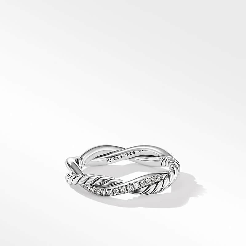 Petite Infinity Twisted Ring with Diamonds