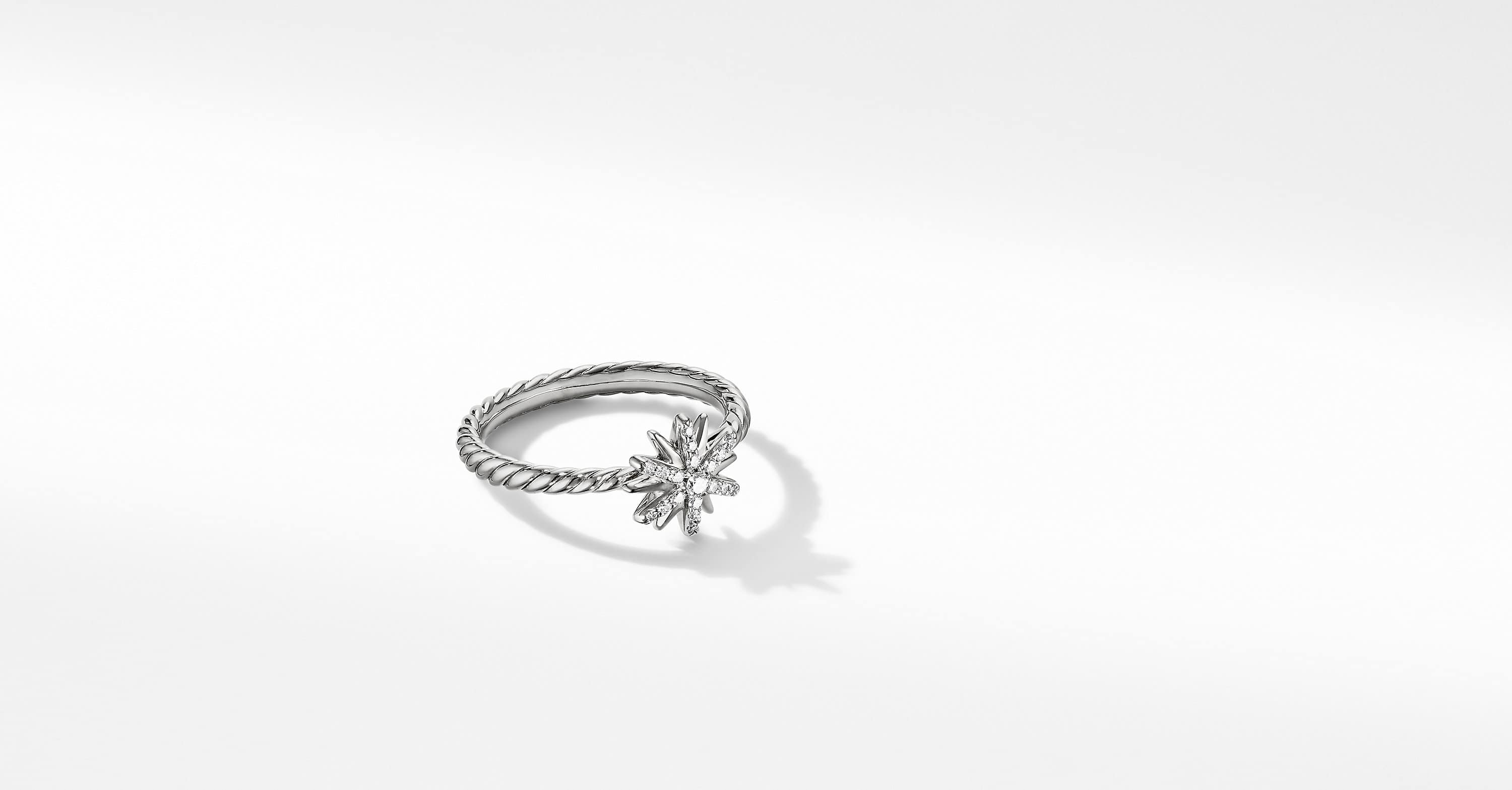 Petite Starburst Station Ring with Diamonds, 10mm