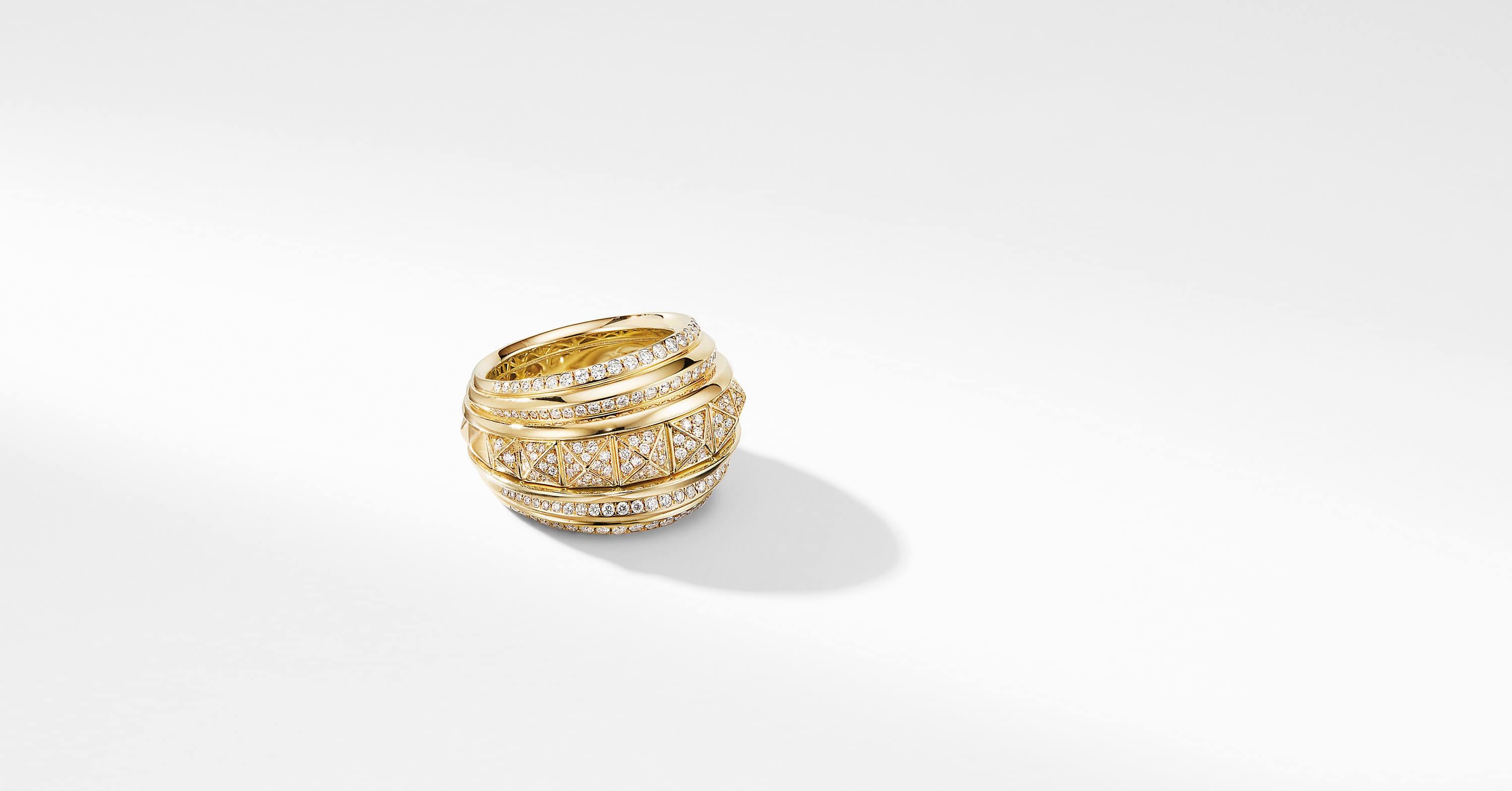 Bold Modern Renaissance in 18K Yellow Gold with Full Pavé