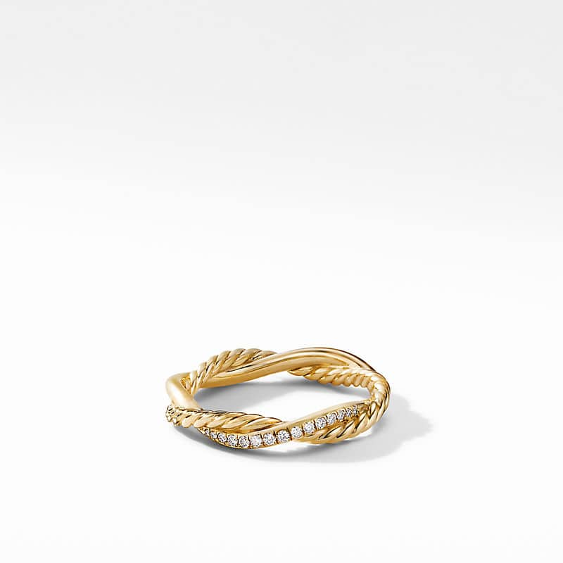 Petite Infinity Twisted Ring in 18K Yellow Gold with Diamonds