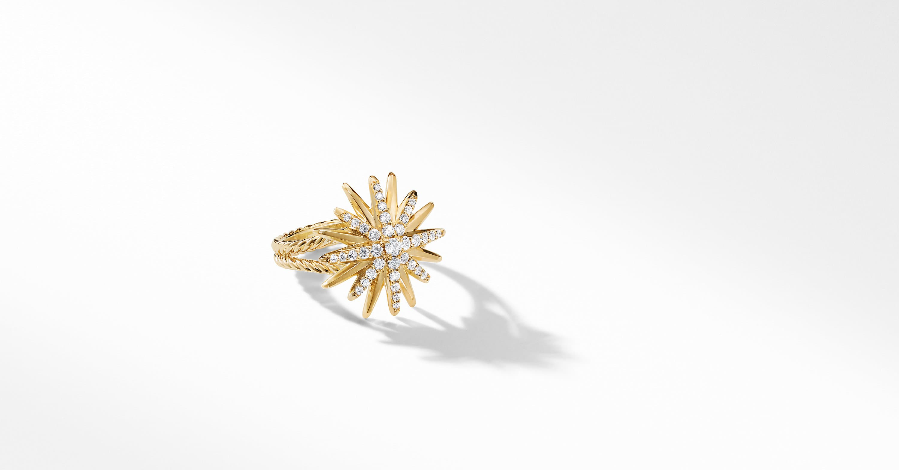 Starburst Ring in 18K Yellow Gold with Diamonds, 19mm
