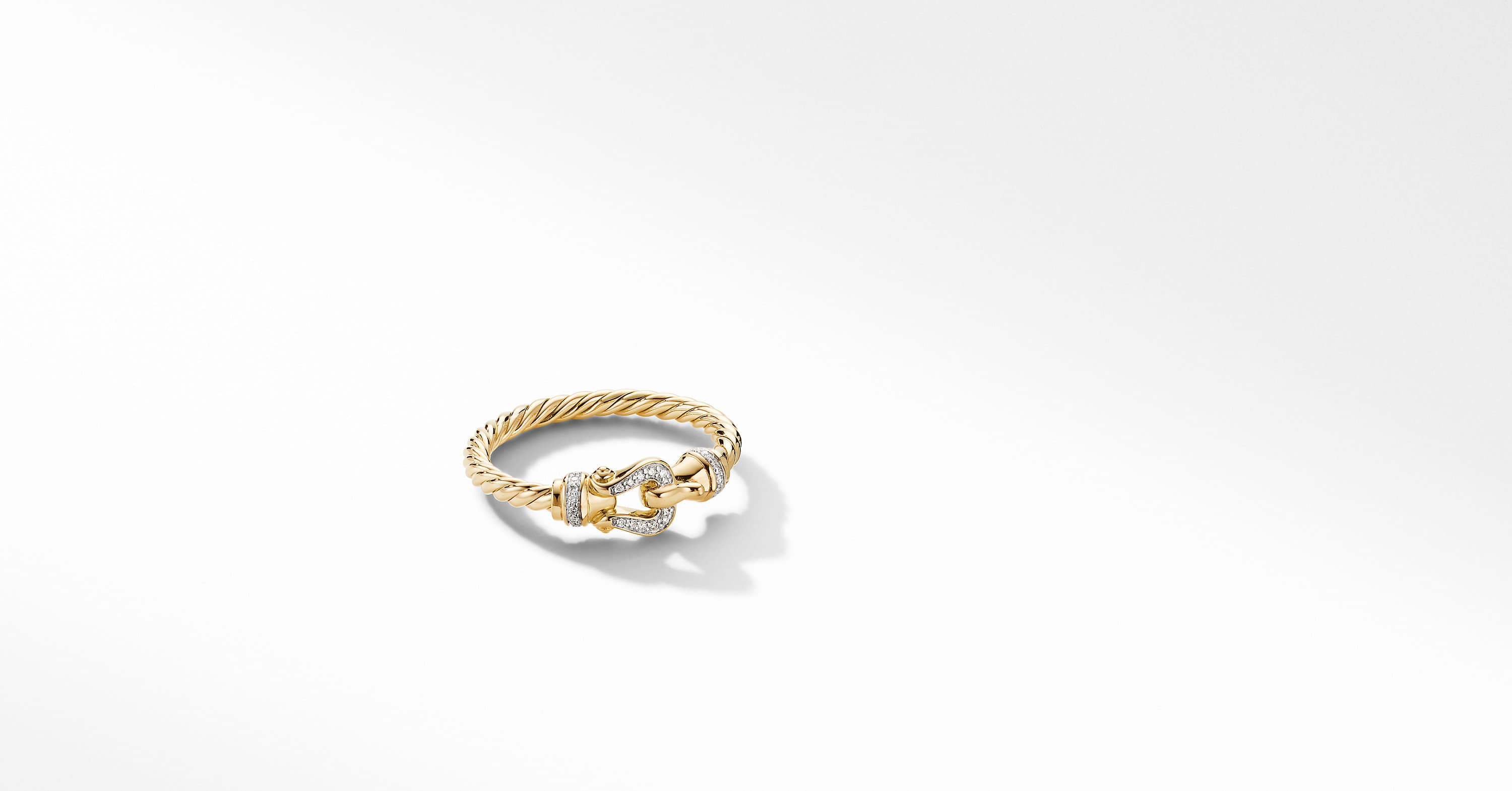 Petite Buckle Ring in 18K Yellow Gold with Diamonds