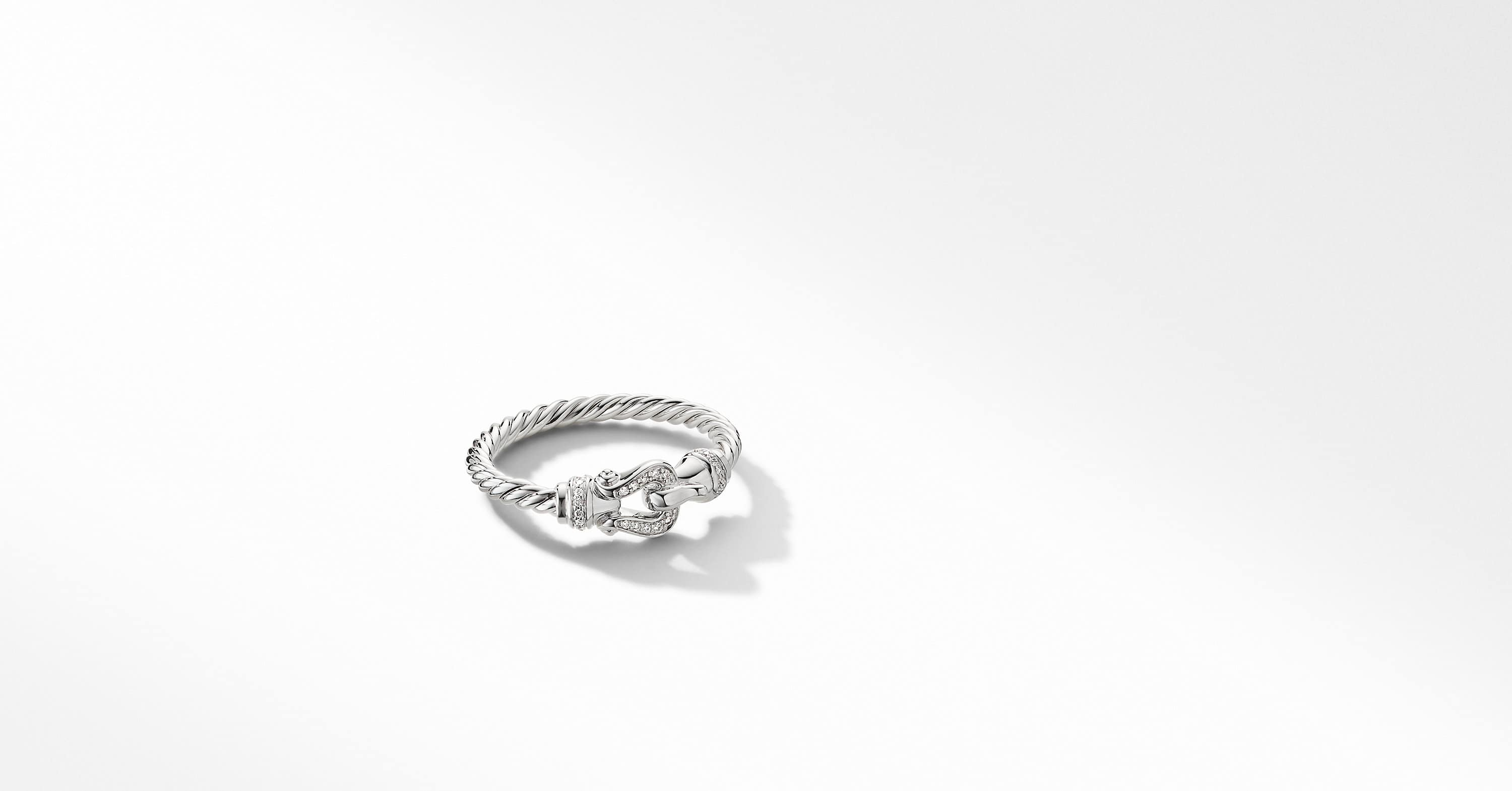 Petite Buckle Ring in 18K White Gold with Diamonds