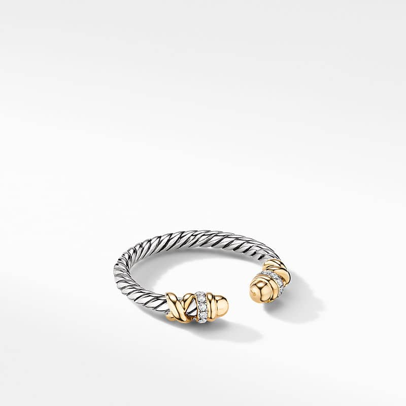 Petite Helena Open Ring with 18K Yellow Gold and Diamonds