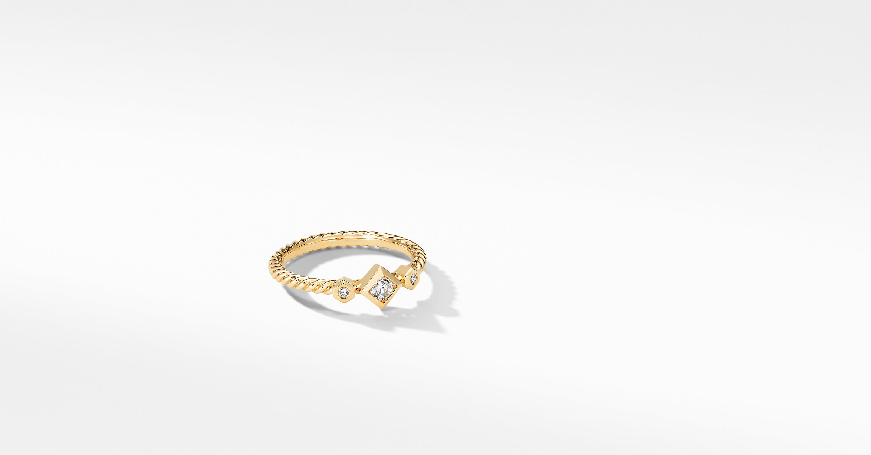 Petite Princess Cut Ring in 18K Yellow Gold with Diamonds
