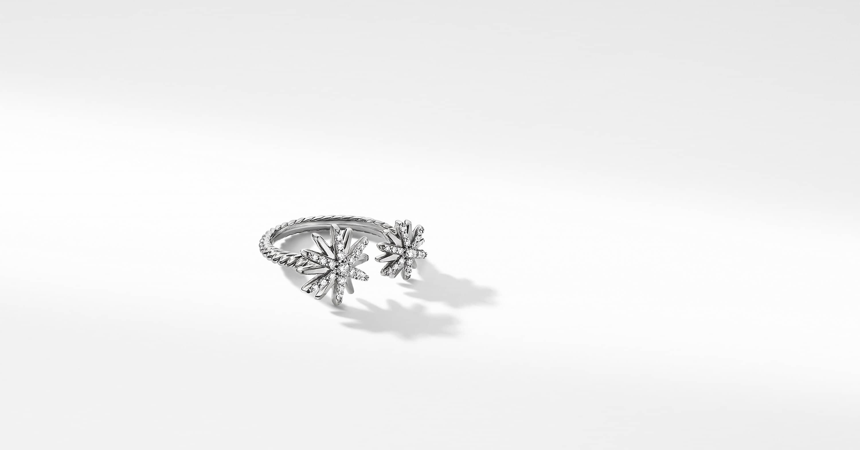 Starburst Bypass Ring with Diamonds