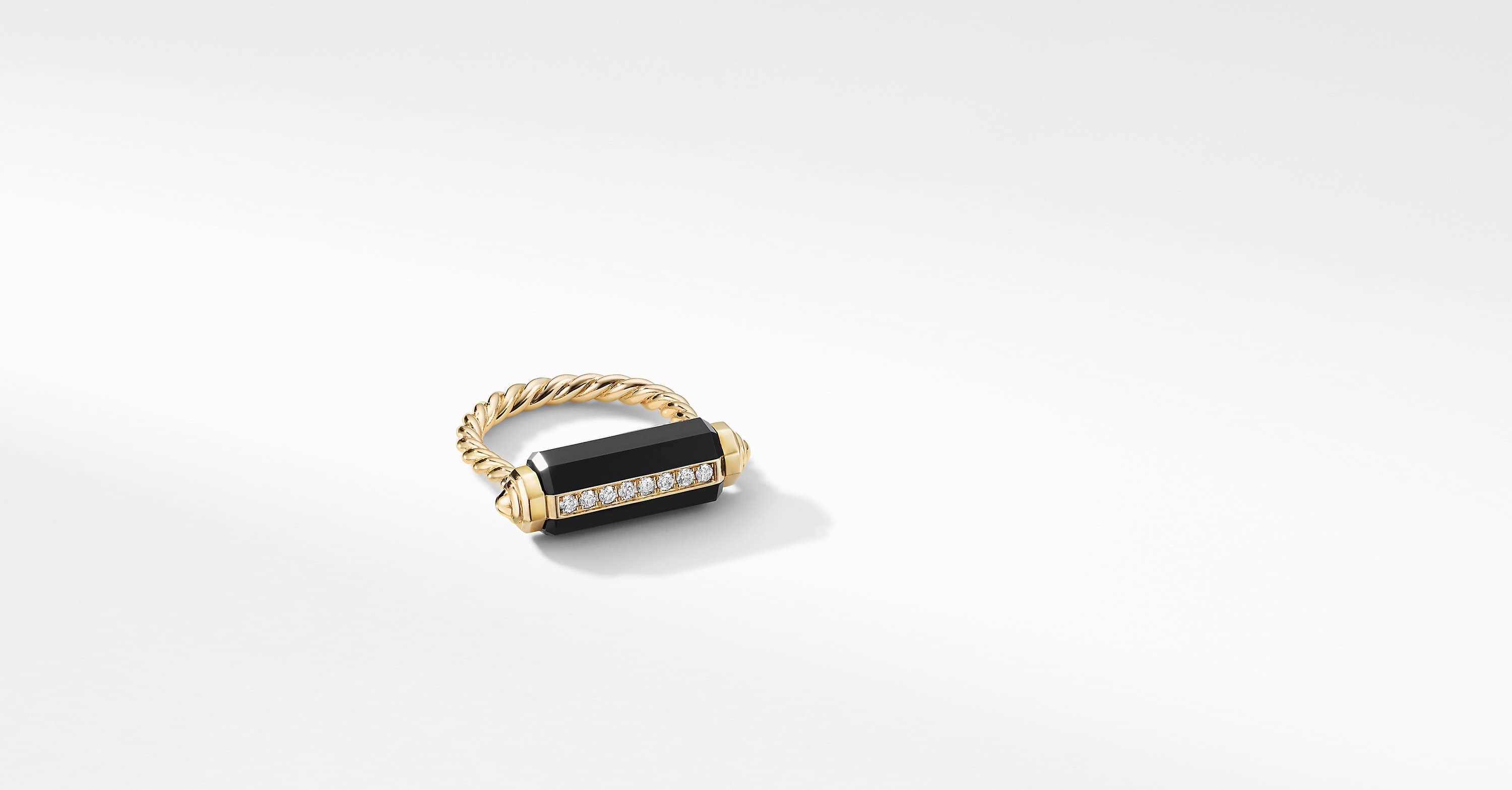 Lexington Barrel Ring in 18K Yellow Gold with Diamonds