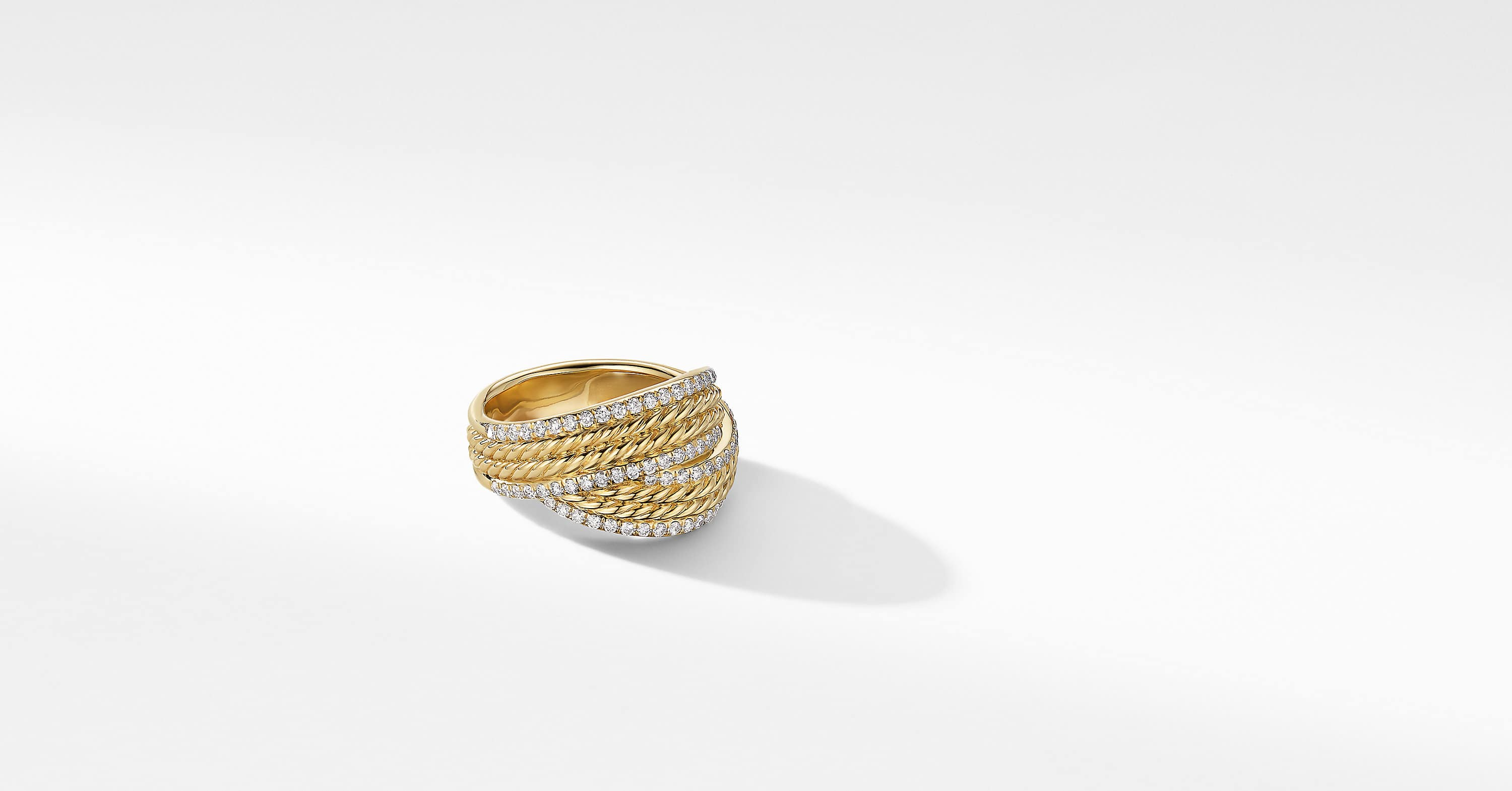 DY Origami Ring in 18K Yellow Gold with Pavé Rails, 13mm
