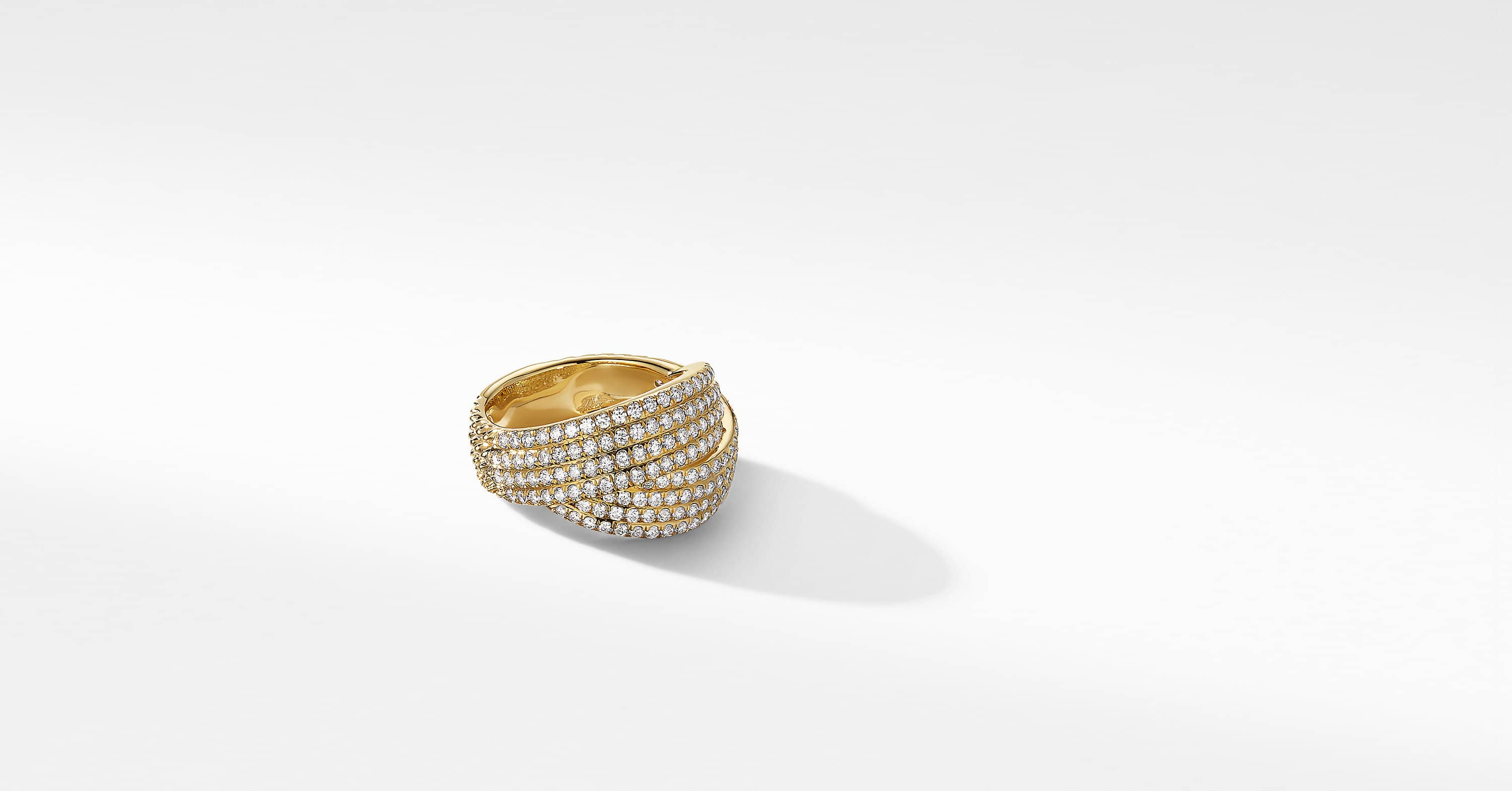 DY Origami Ring in 18K Yellow Gold with Pavé, 13mm