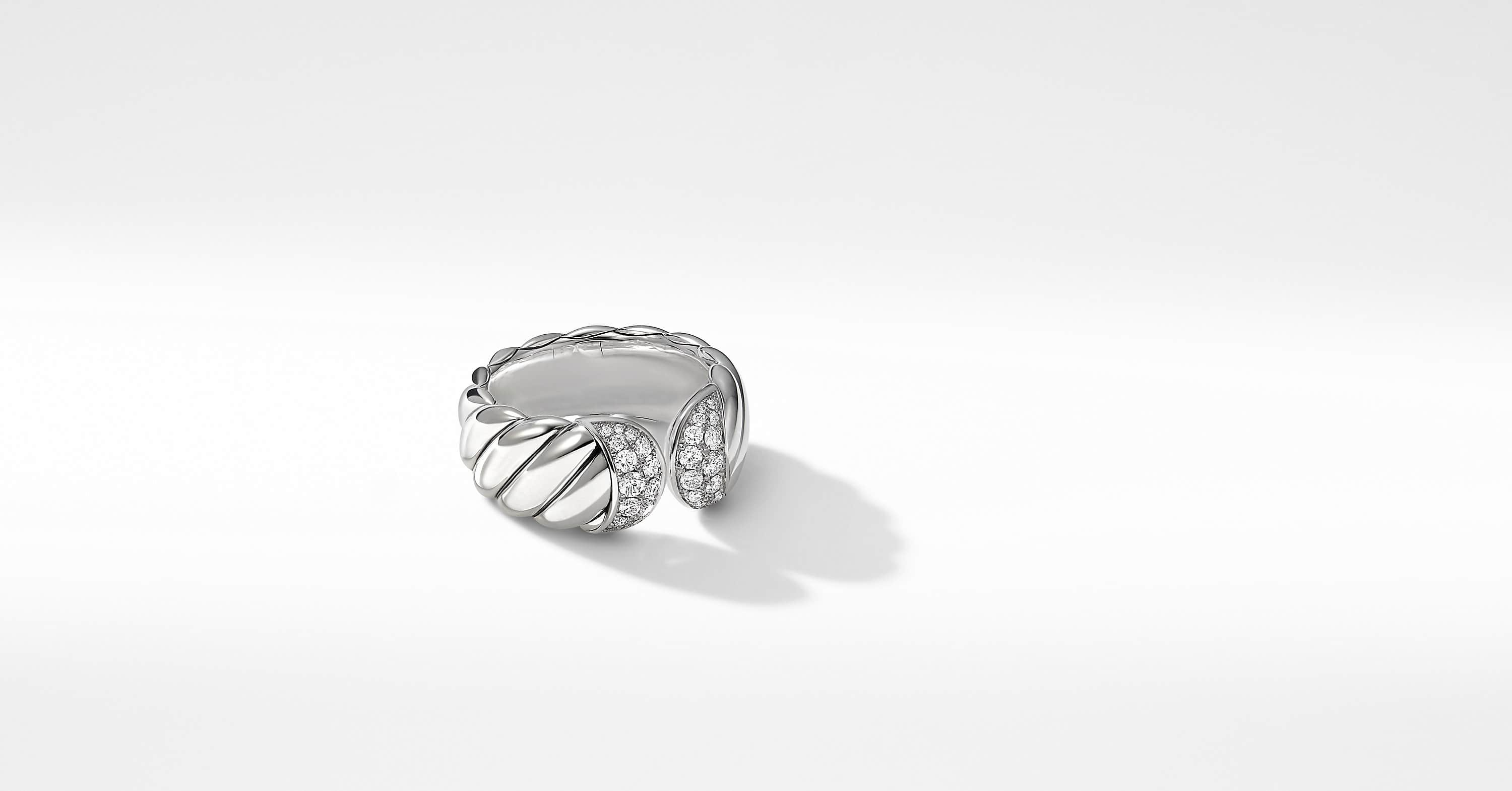 Sculpted Cable Ring with Diamonds, 10mm