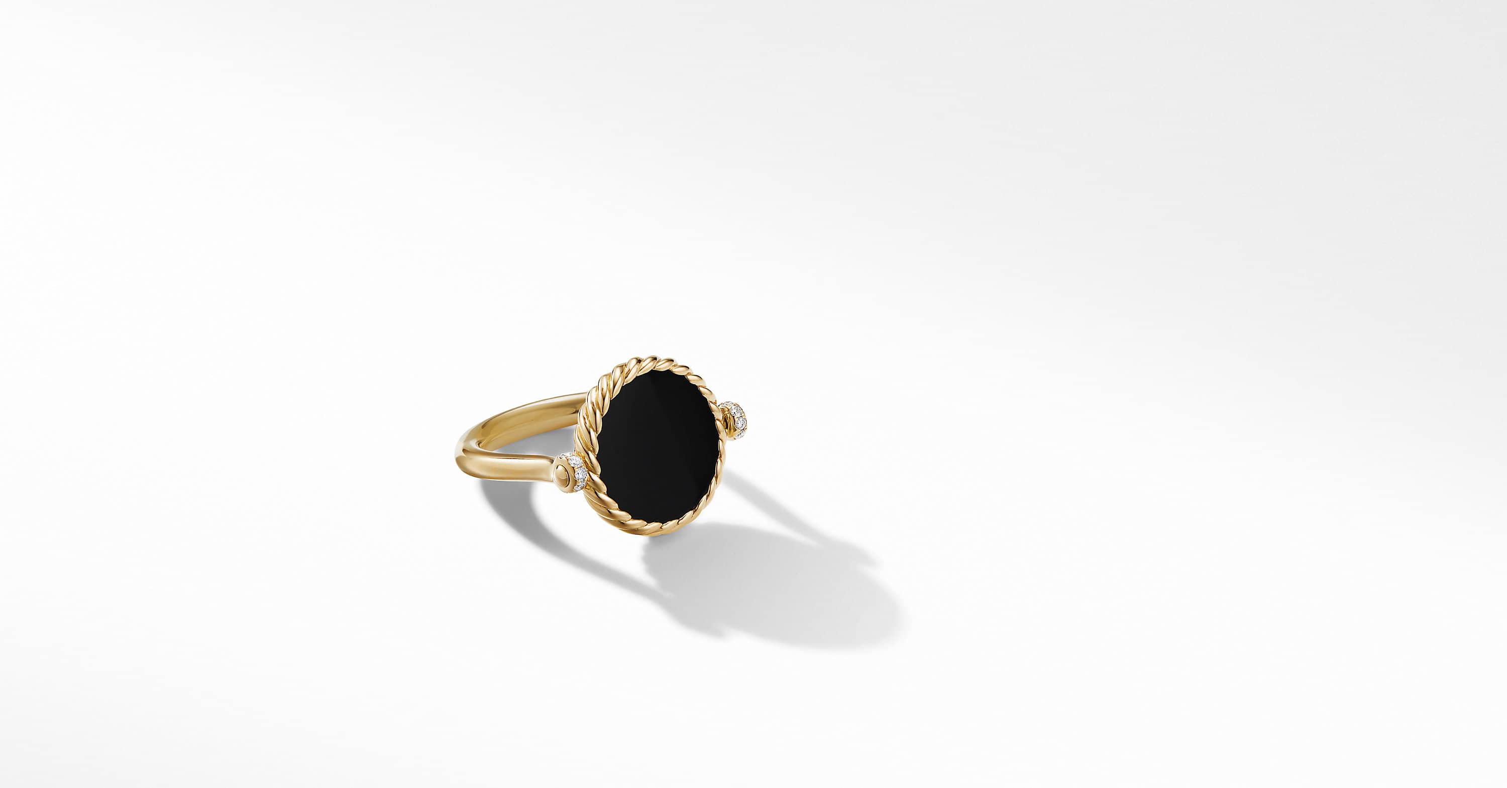 DY Elements Swivel Ring in 18K Yellow Gold with Diamonds, 15mm