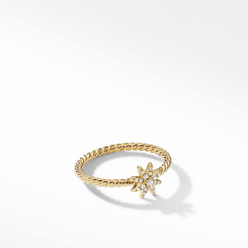 Petite Starburst Station Ring in 18K Yellow Gold with Diamonds, 7.5mm