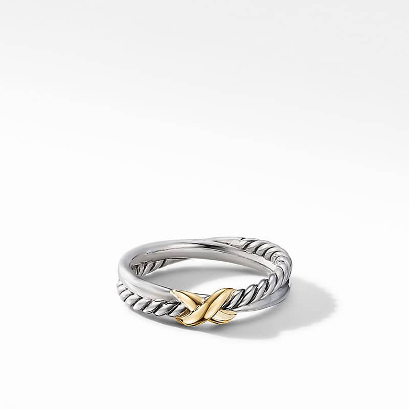 Petite X Ring with 18K Yellow Gold
