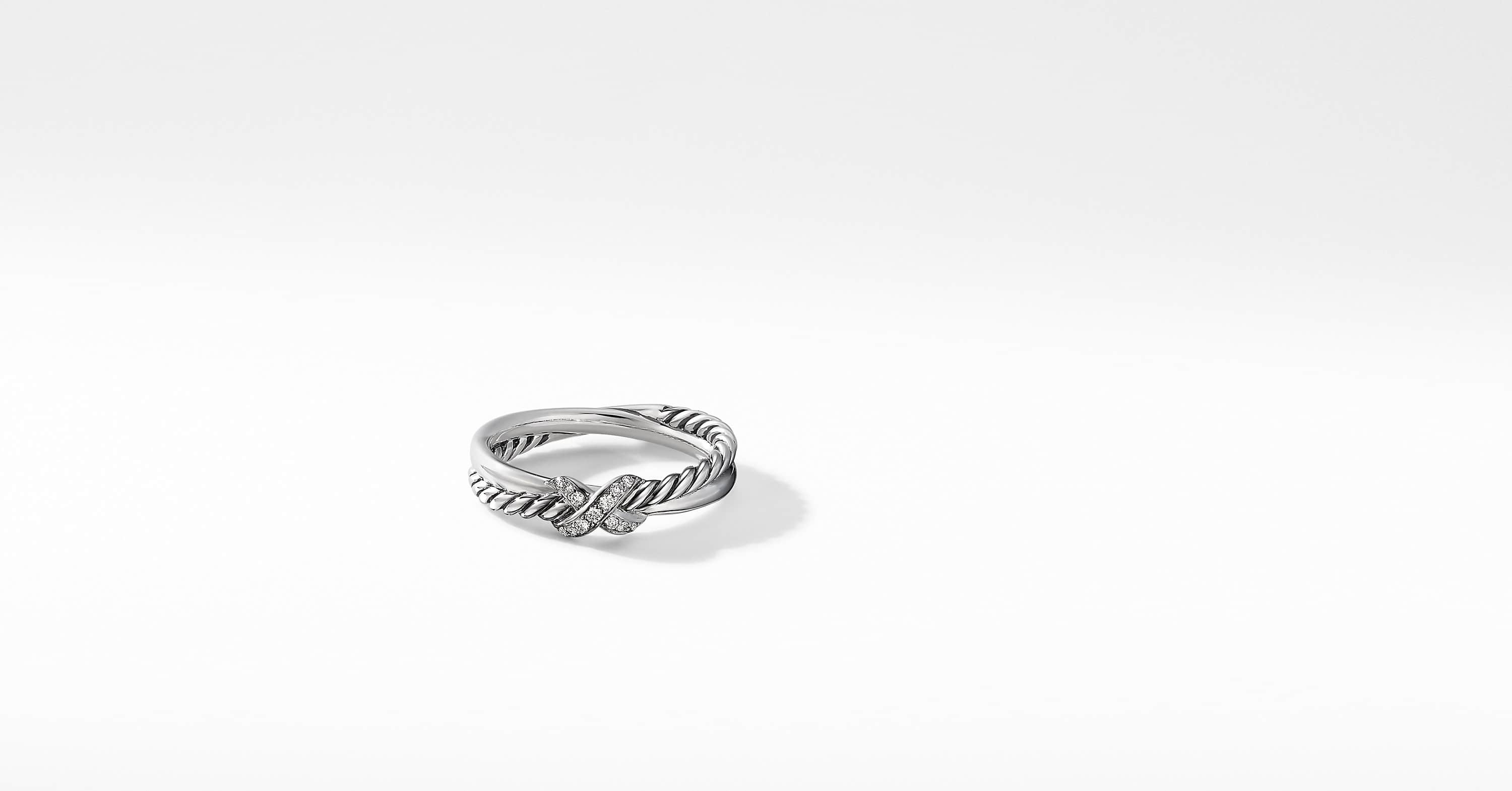 Petite X Ring with Diamonds, 4mm
