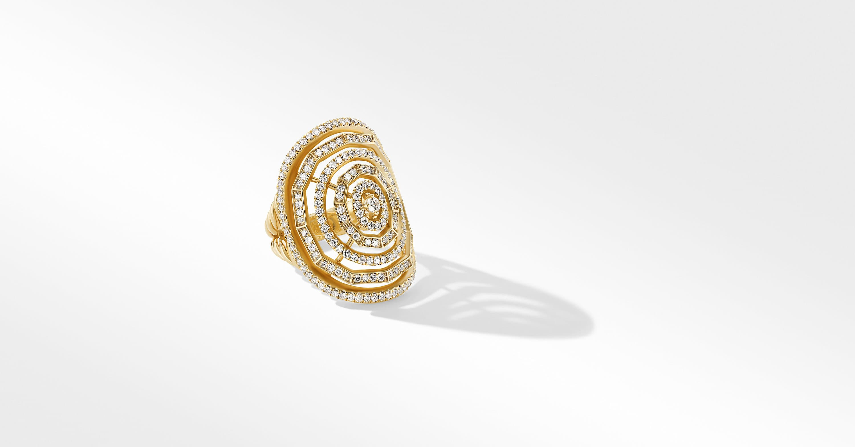 Stax Statement Ring in 18K Yellow Gold with Full Pavé, 30mm