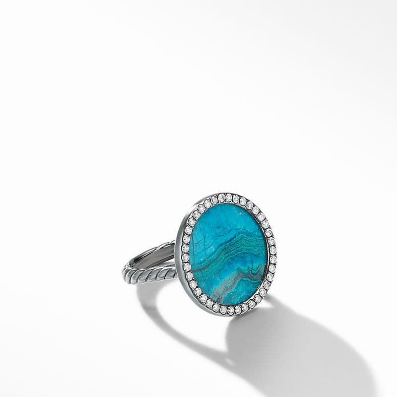 DY Elements® Ring in Blackened Silver with Chrysocolla