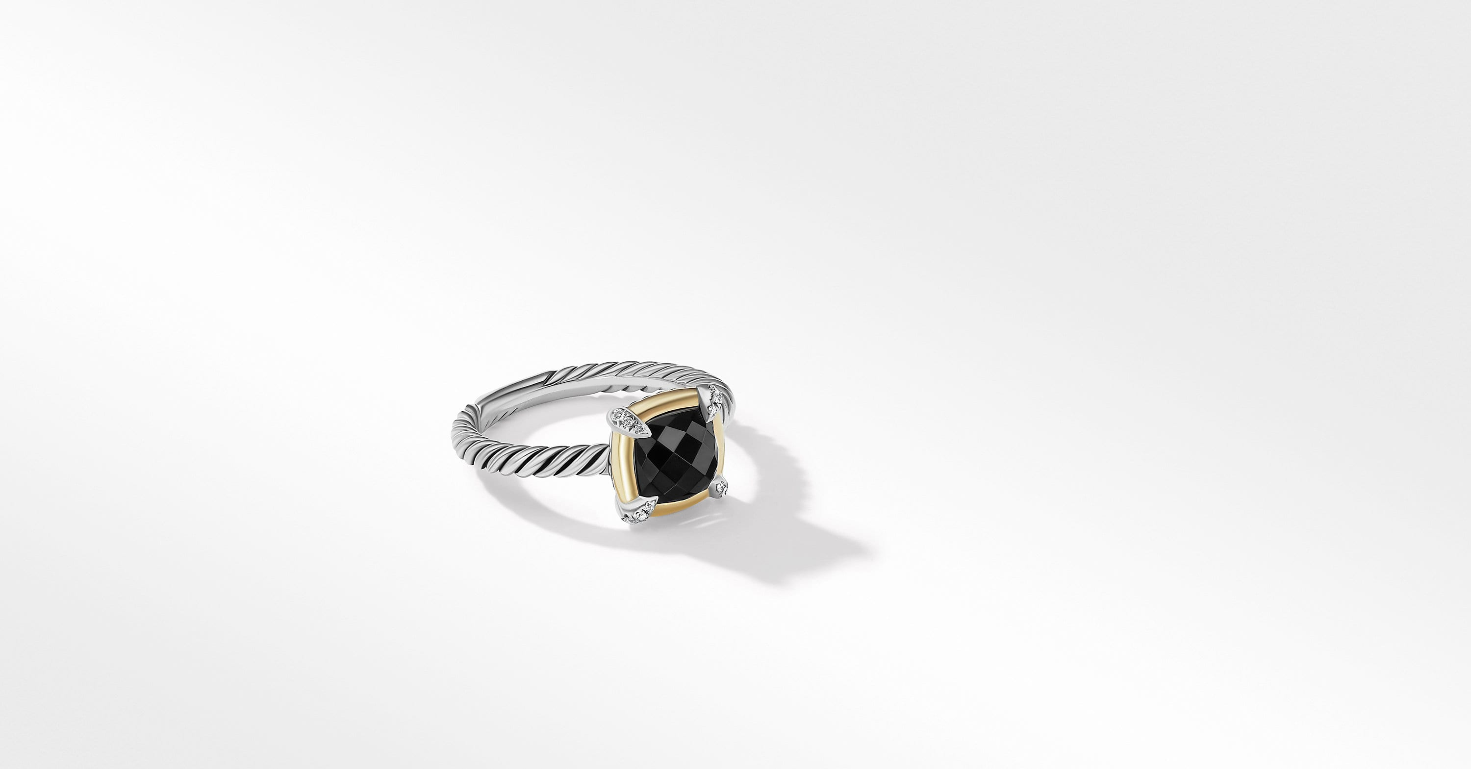 Petite Chatelaine Ring with 18K Yellow Gold Bezel and Diamonds, 10mm