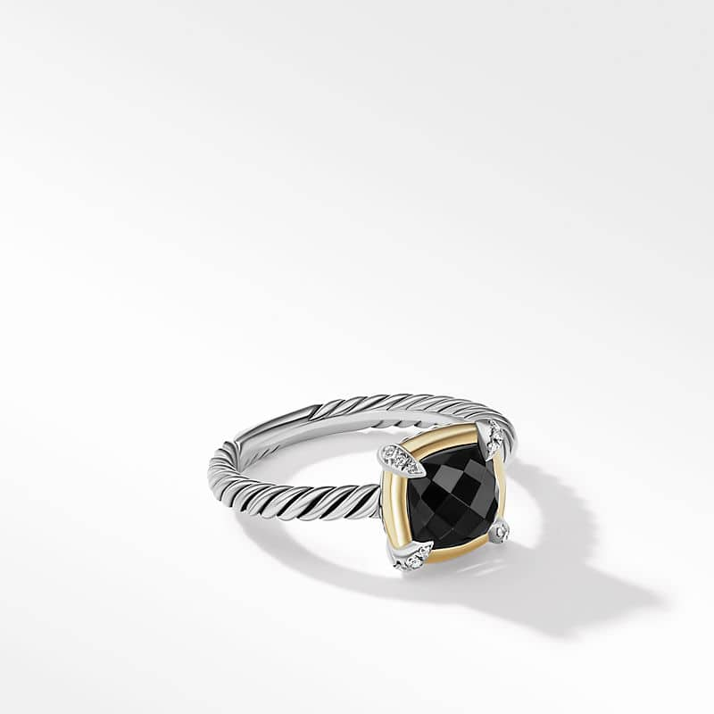 Petite Chatelaine® Ring with Black Onyx, 18K Yellow